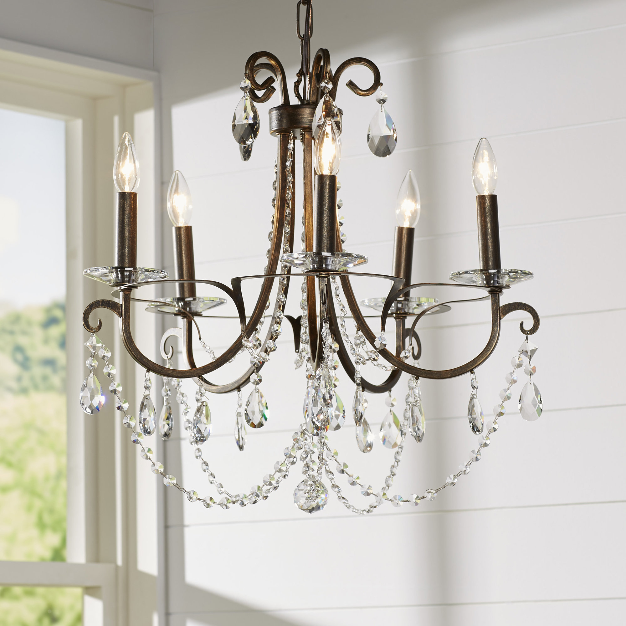 Roesler 5-Light Candle Style Chandelier intended for Shaylee 5-Light Candle Style Chandeliers (Image 18 of 30)