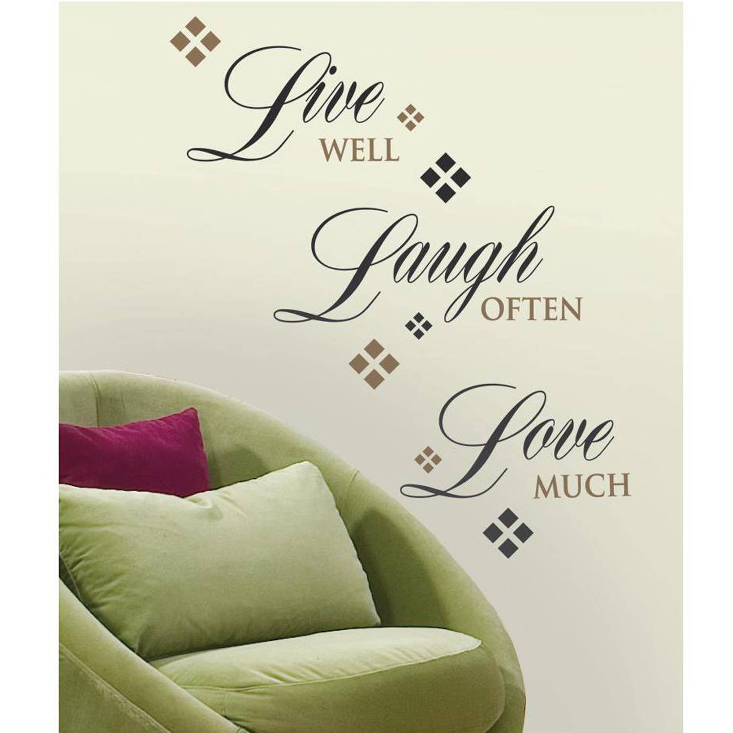 Roommates Live Love Laugh Peel And Stick Wall Decals For Live Love Laugh 3 Piece Black Wall Decor Sets (View 17 of 30)