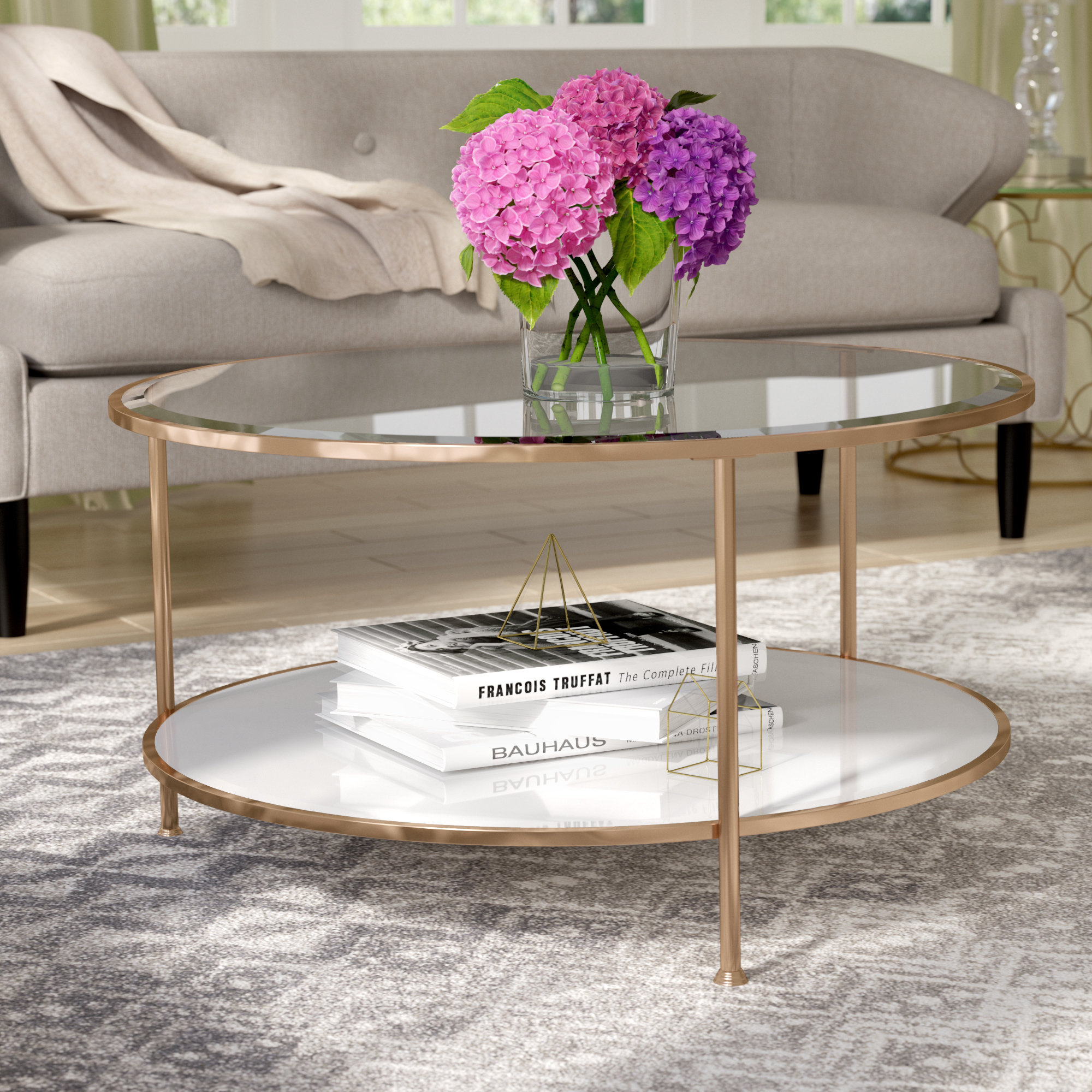 Rose Gold Marble Coffee Table | Wayfair For Robblee 4 Light Geometric Pendants (Photo 20 of 30)