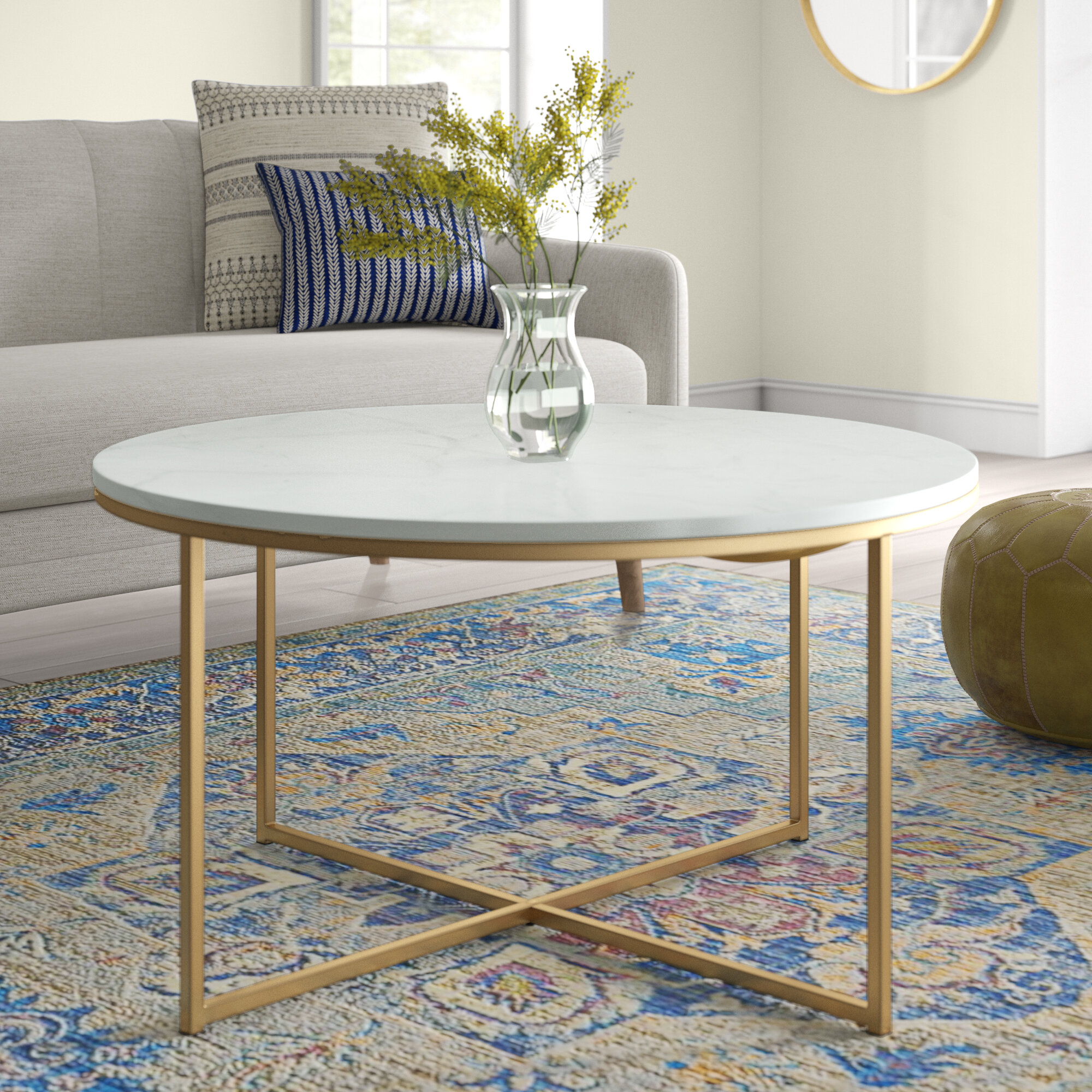 Rose Gold Marble Coffee Table | Wayfair For Robblee 4 Light Geometric Pendants (Gallery 19 of 30)