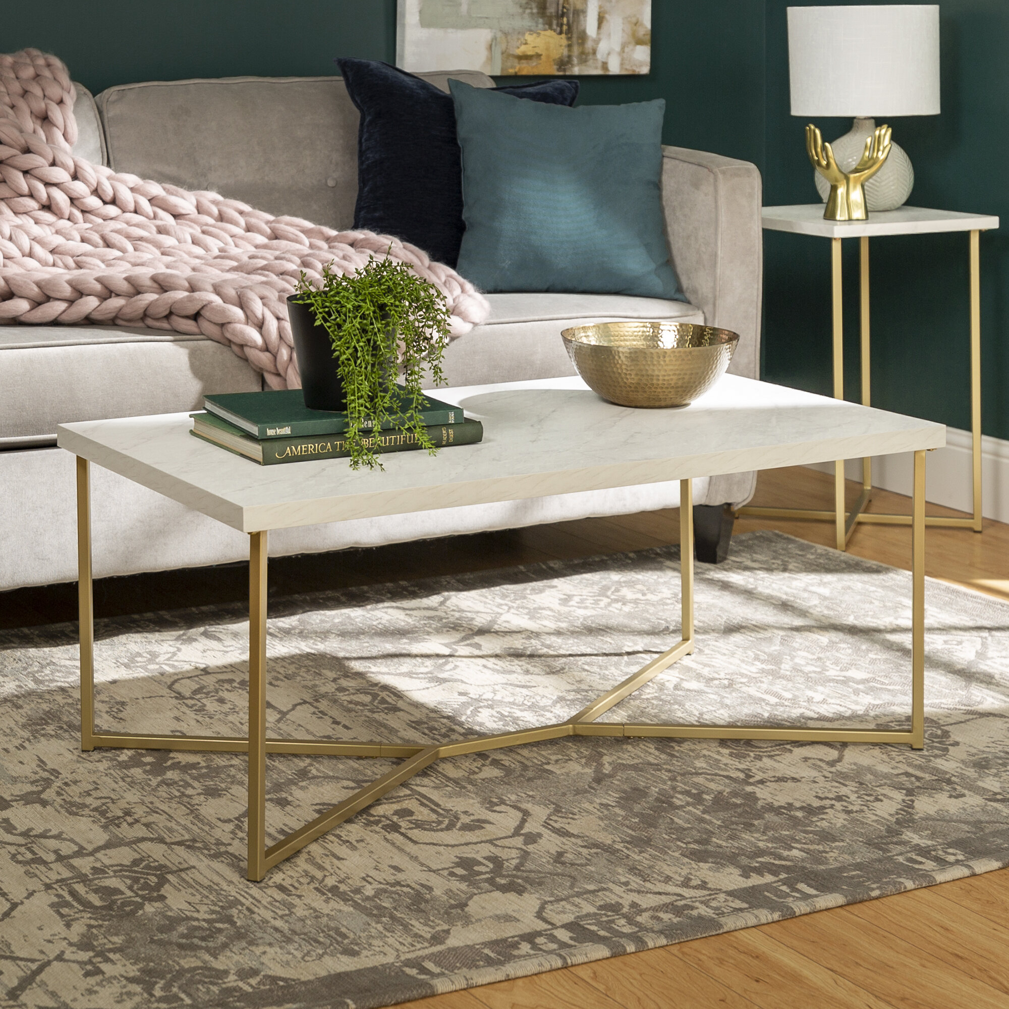 Rose Gold Marble Coffee Table | Wayfair Pertaining To Robblee 4 Light Geometric Pendants (View 24 of 30)