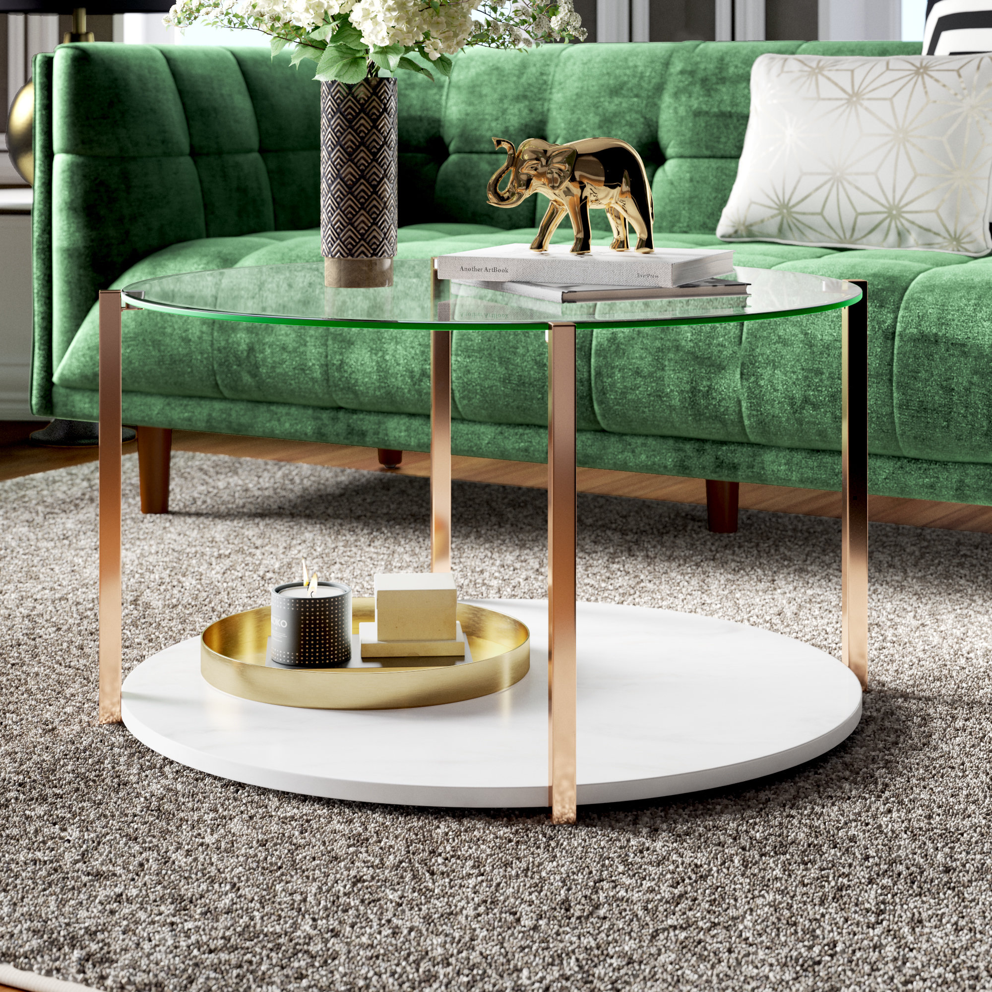 Rose Gold Marble Coffee Table | Wayfair Pertaining To Robblee 4 Light Geometric Pendants (View 23 of 30)