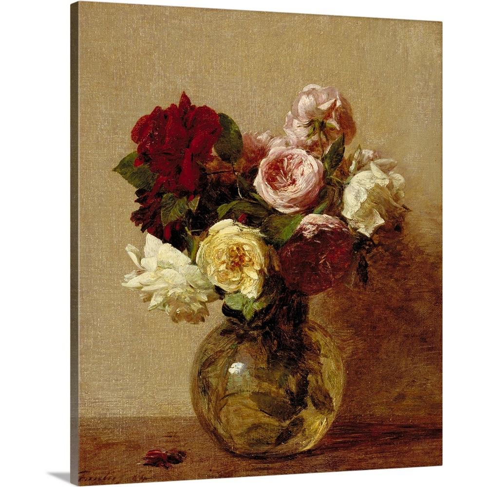 """""""roses, 1884""""ignace (1836 1904) Fantin Latour Canvas Wall Art Throughout Latour Wall Decor (View 8 of 30)"""