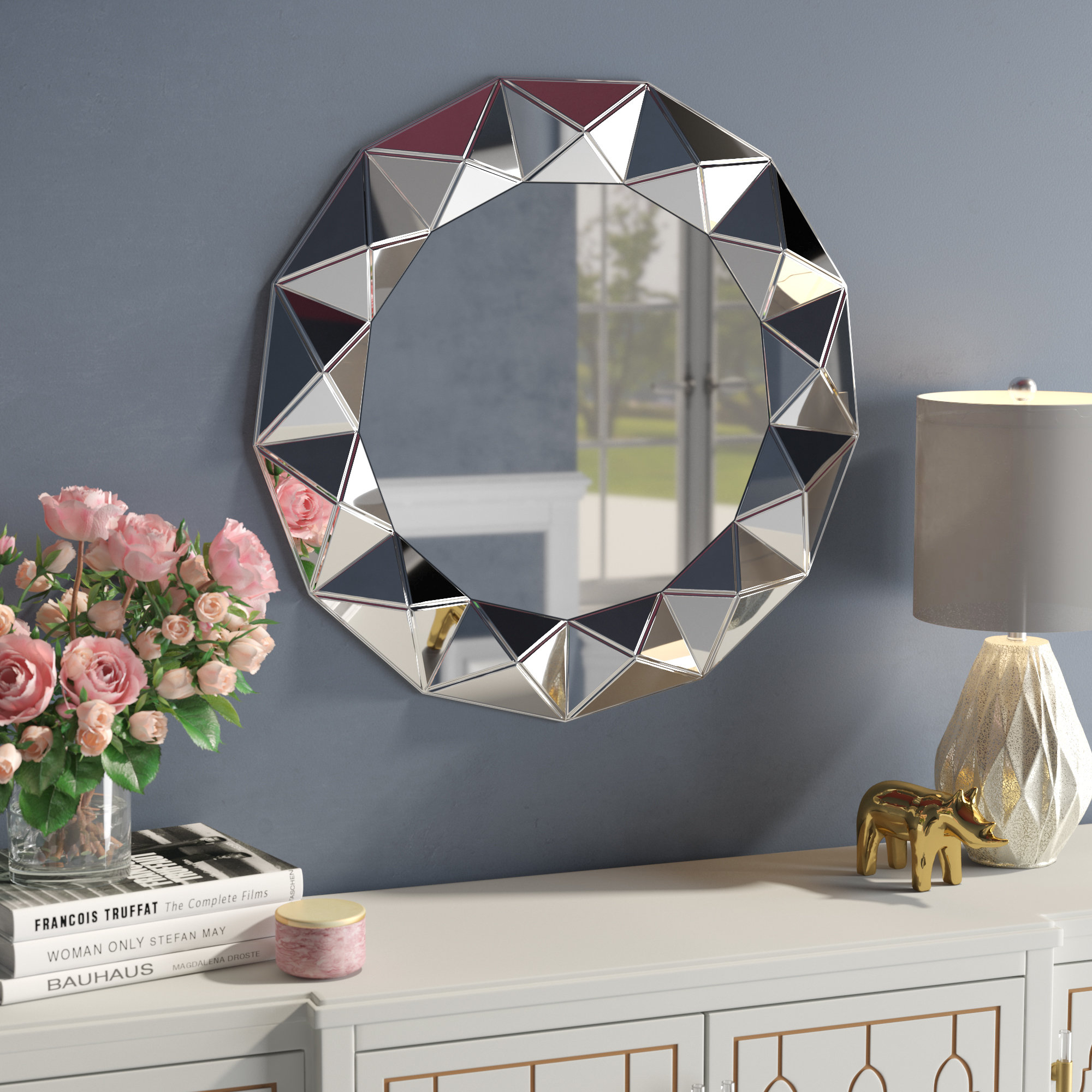 Round Crystal Wall Mirror | Wayfair inside Kentwood Round Wall Mirrors (Image 21 of 30)