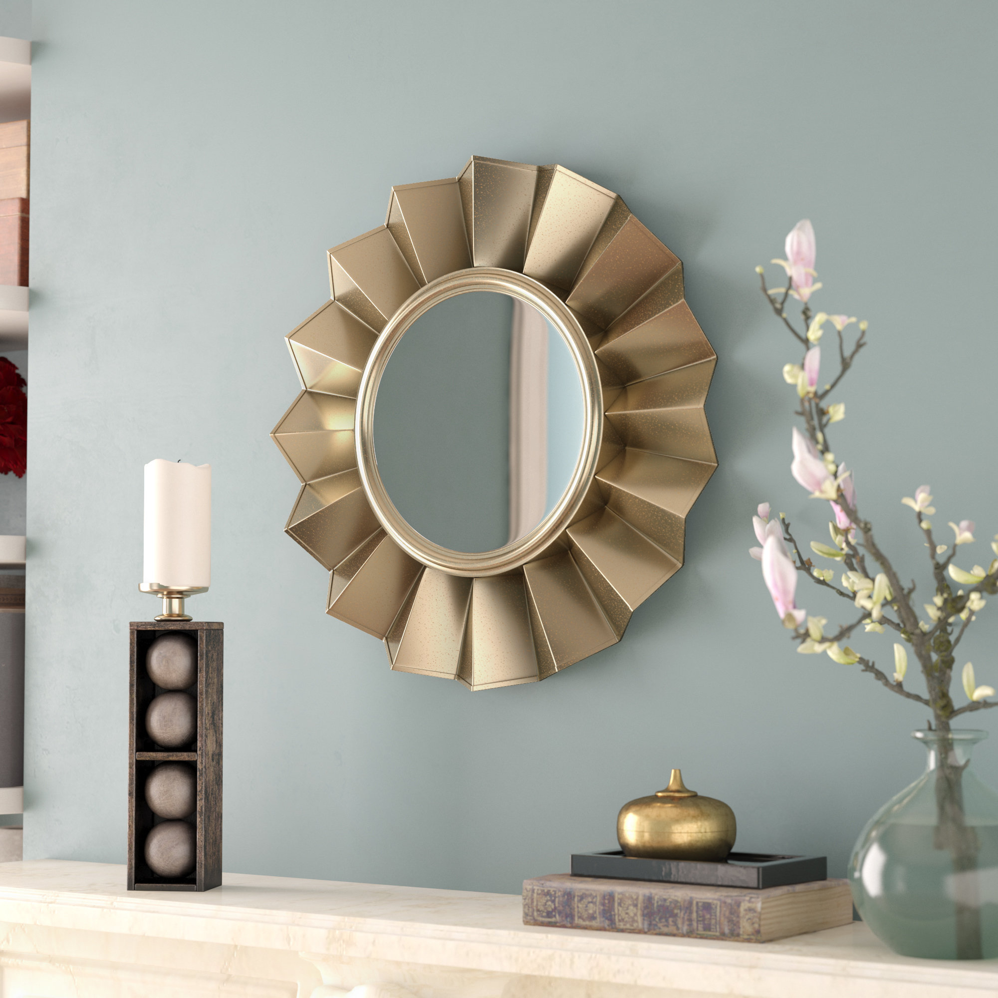 Round Crystal Wall Mirror | Wayfair pertaining to Kentwood Round Wall Mirrors (Image 22 of 30)