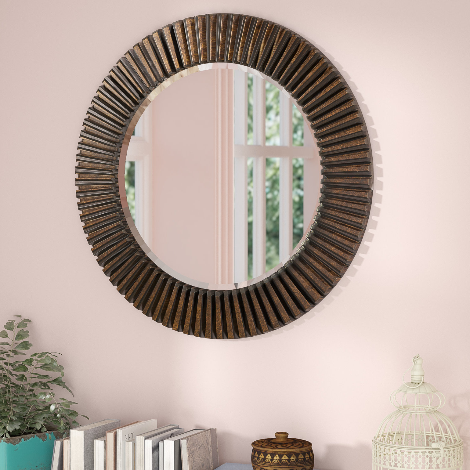 Round Eclectic Accent Mirror Within Estrela Modern Sunburst Metal Wall Mirrors (Gallery 13 of 30)