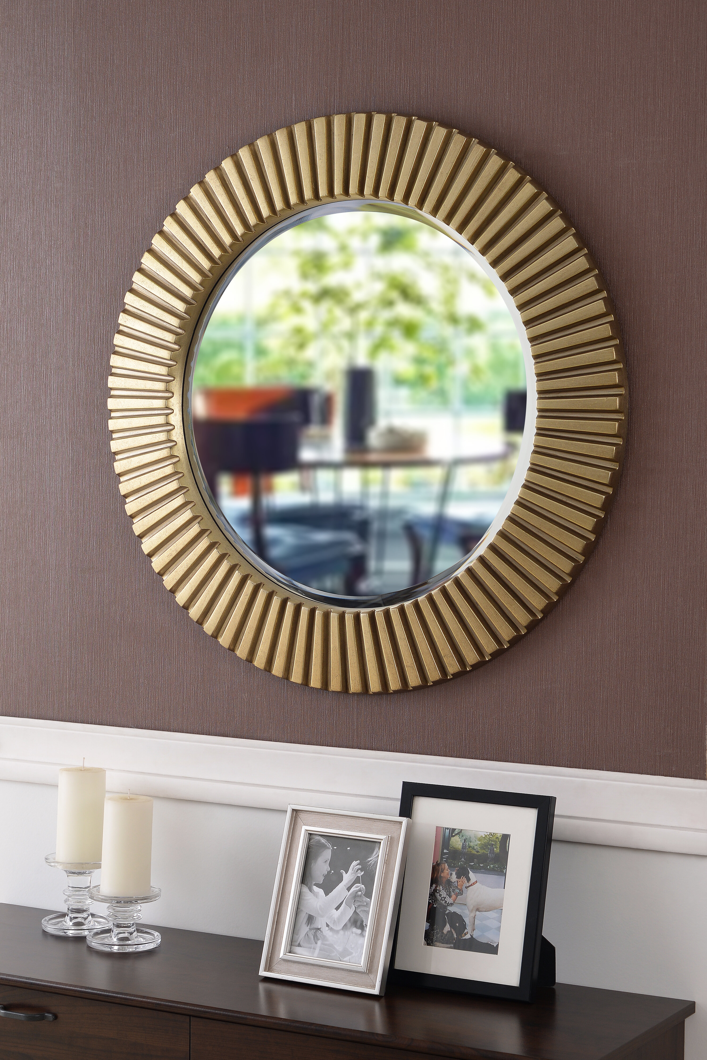 Round Eclectic Accent Mirror within Josephson Starburst Glam Beveled Accent Wall Mirrors (Image 19 of 22)