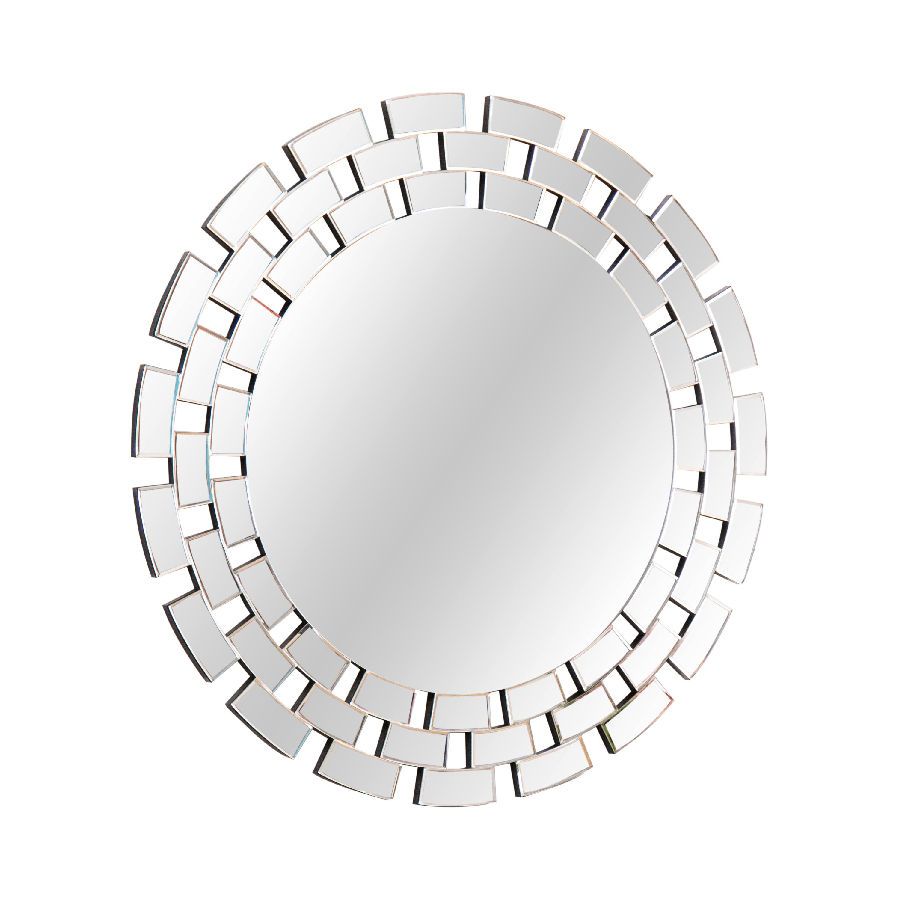 Round Glass Wall Accent Mirror In Tata Openwork Round Wall Mirrors (Photo 14 of 30)