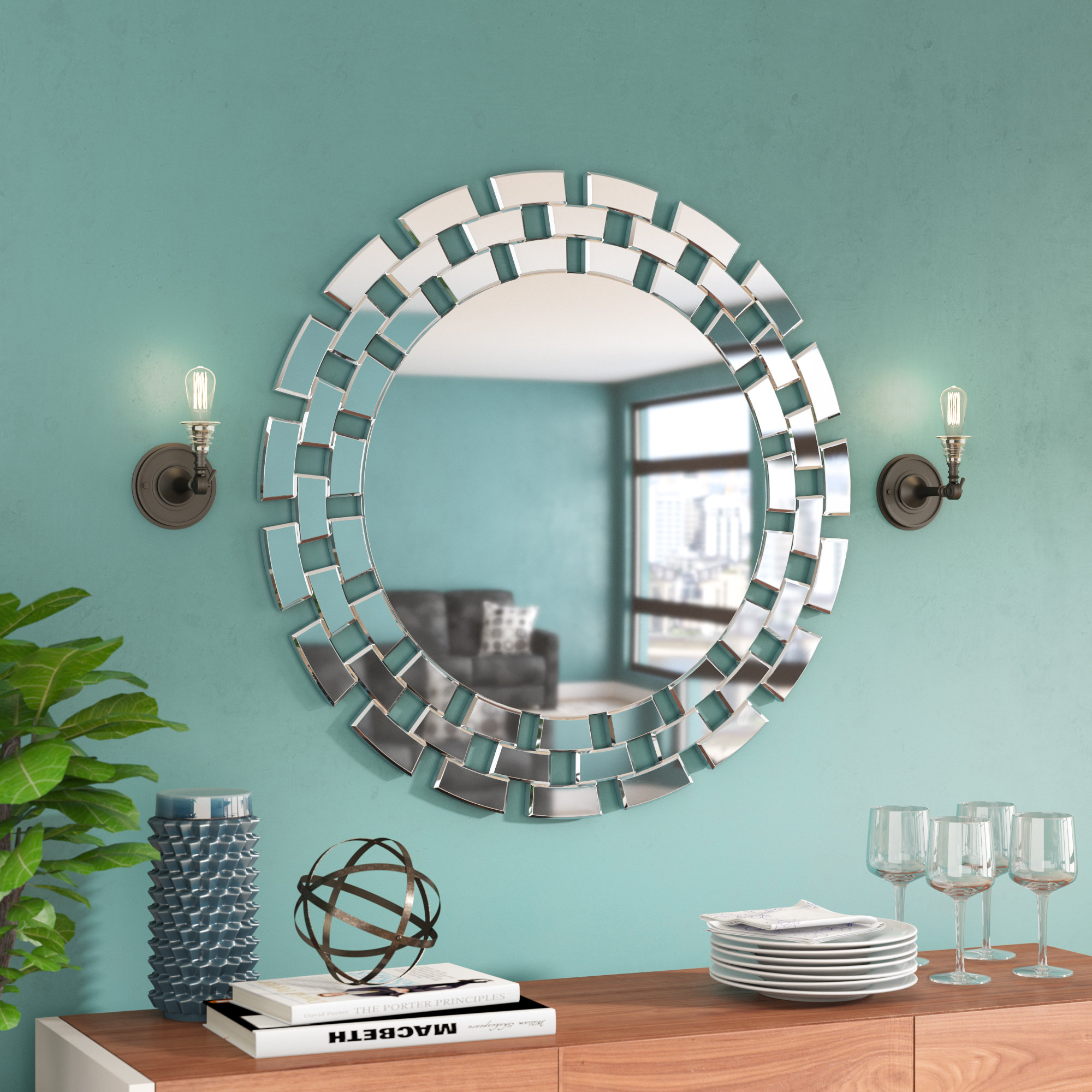 Round Glass Wall Accent Mirror Inside Tata Openwork Round Wall Mirrors (Gallery 23 of 30)