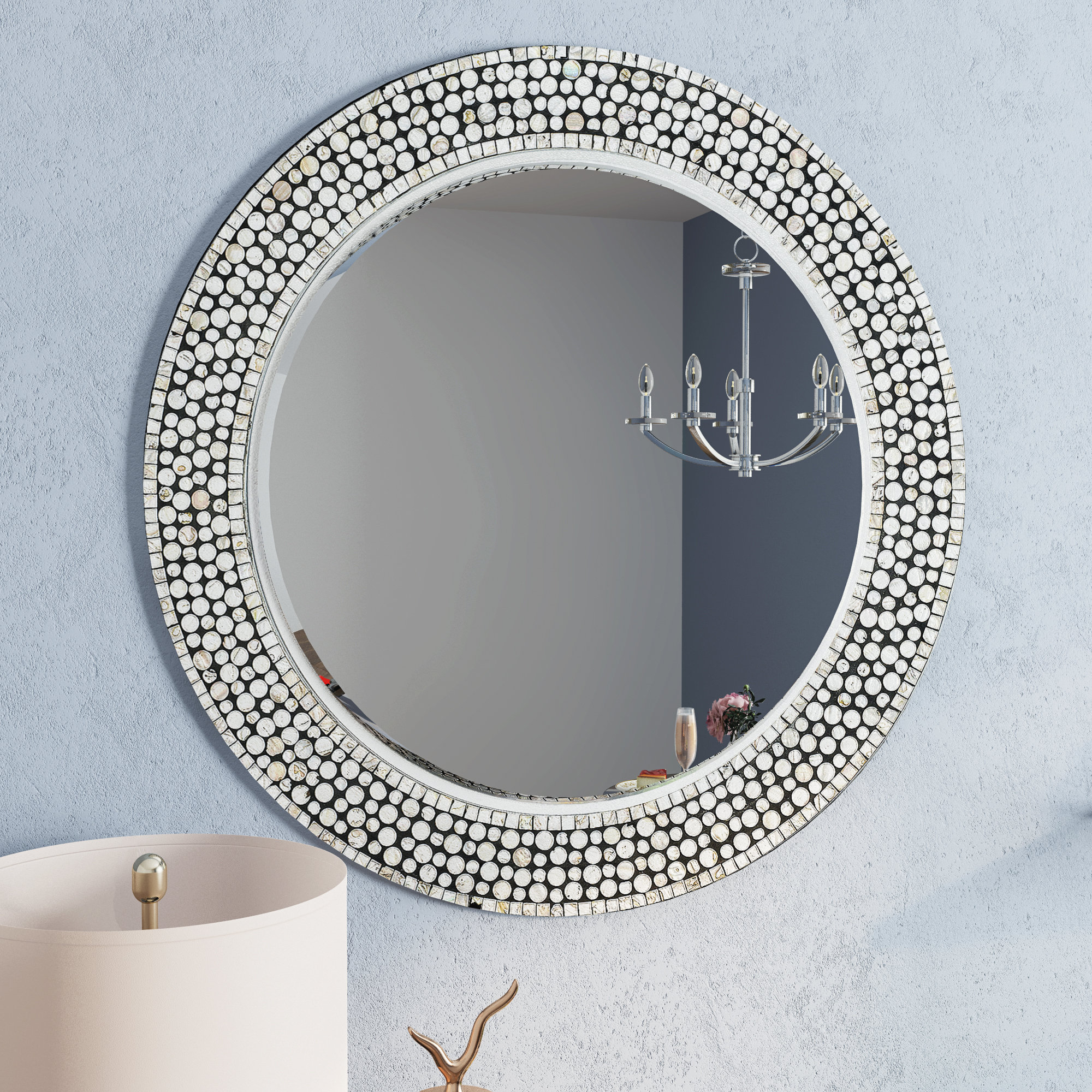 Round Gray Decorative Wall Mirror Regarding Lidya Frameless Beveled Wall Mirrors (View 10 of 30)