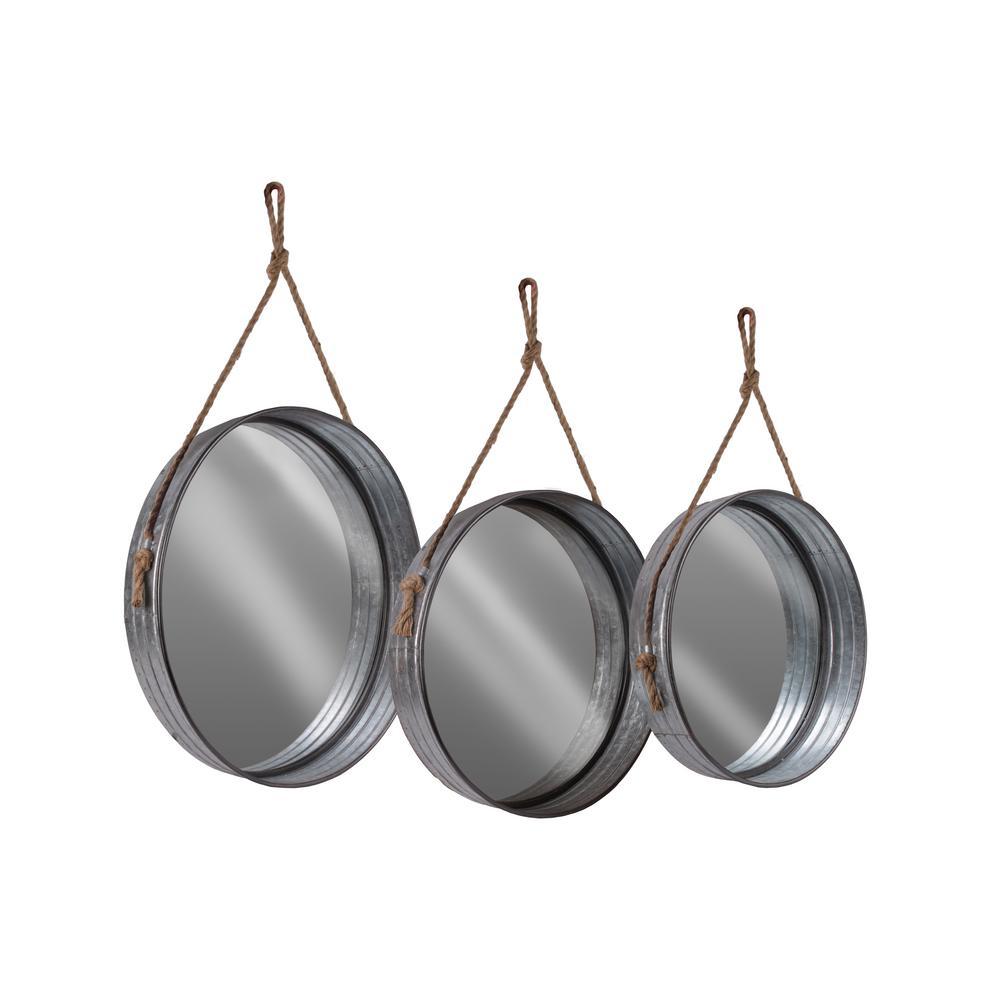 Round Gray Galvanized Wall Mirror With Regard To Round Galvanized Metallic Wall Mirrors (Gallery 22 of 30)