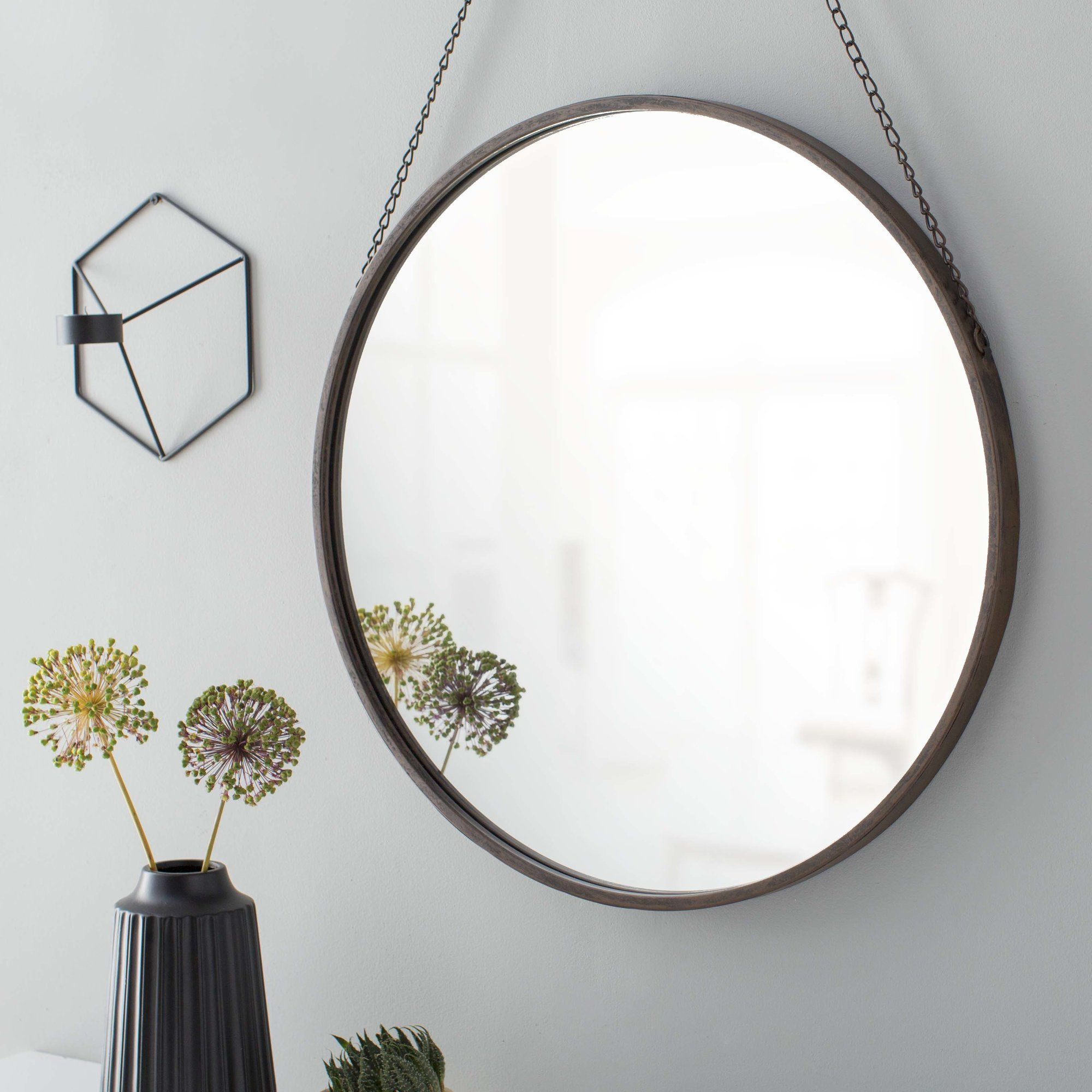 Round Metal Mirror With Black Chain Hanger | Kiddos pertaining to Yedinak Modern Distressed Accent Mirrors (Image 18 of 30)