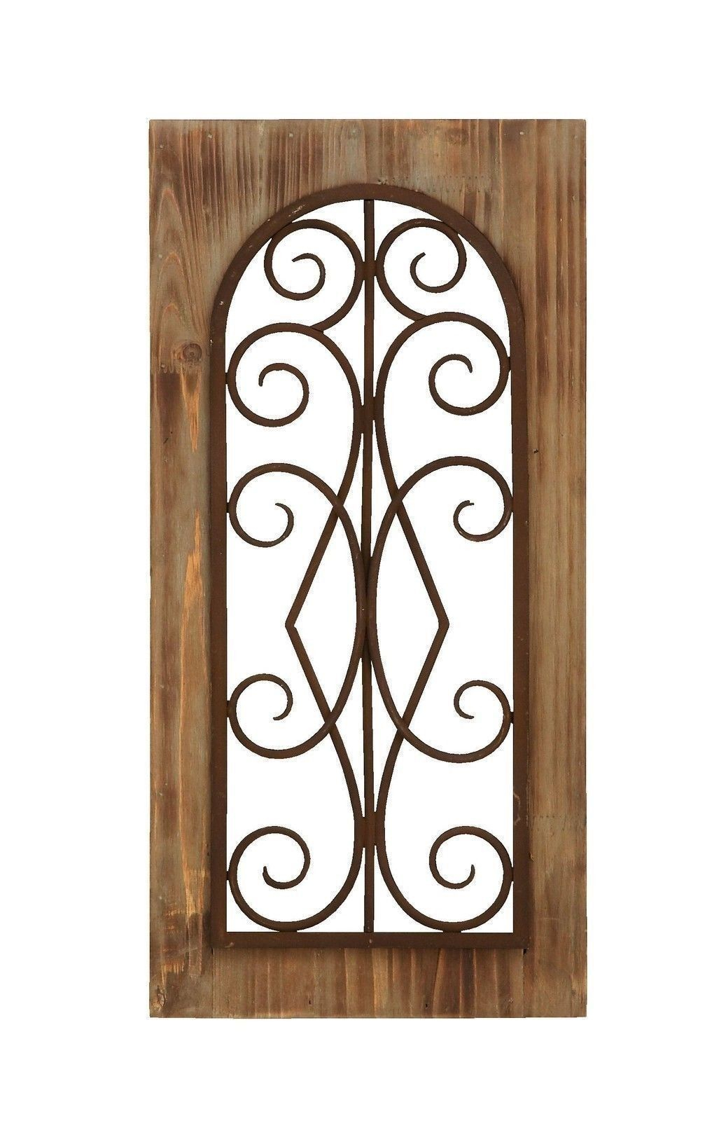 "Rustic Antiqued Wood And Metal Scrollwork Wall Panel 23"" X Within Brown Wood And Metal Wall Decor (Gallery 15 of 30)"