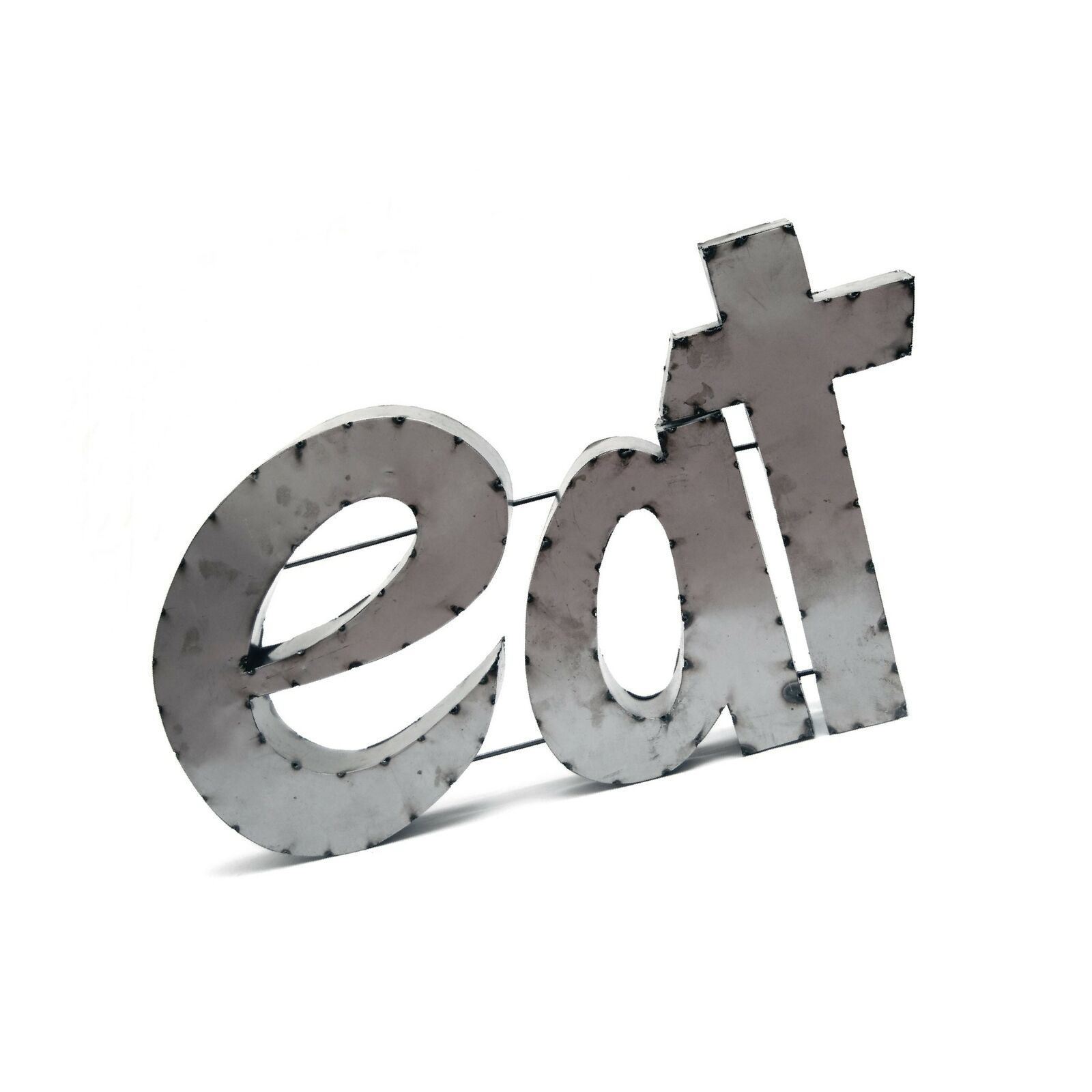"""Rustic Arrow Eat Sign With Rebar For Decor, 224.5 15 Inch, Brown In Grey """"eat"""" Sign With Rebar Decor (Photo 5 of 30)"""