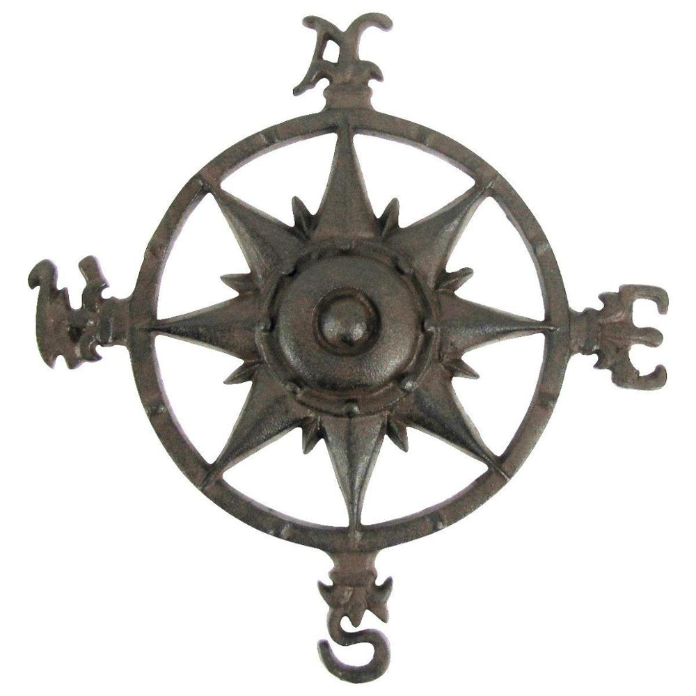 Rustic Cast Iron Rose Compass Nautical Beach House Wall Art Outdoor Garden  Decor - Buy Cast Iron Wall Decor,ornamental Iron Wall Decor,metal Wall Art with regard to Outdoor Metal Wall Compass (Image 28 of 30)