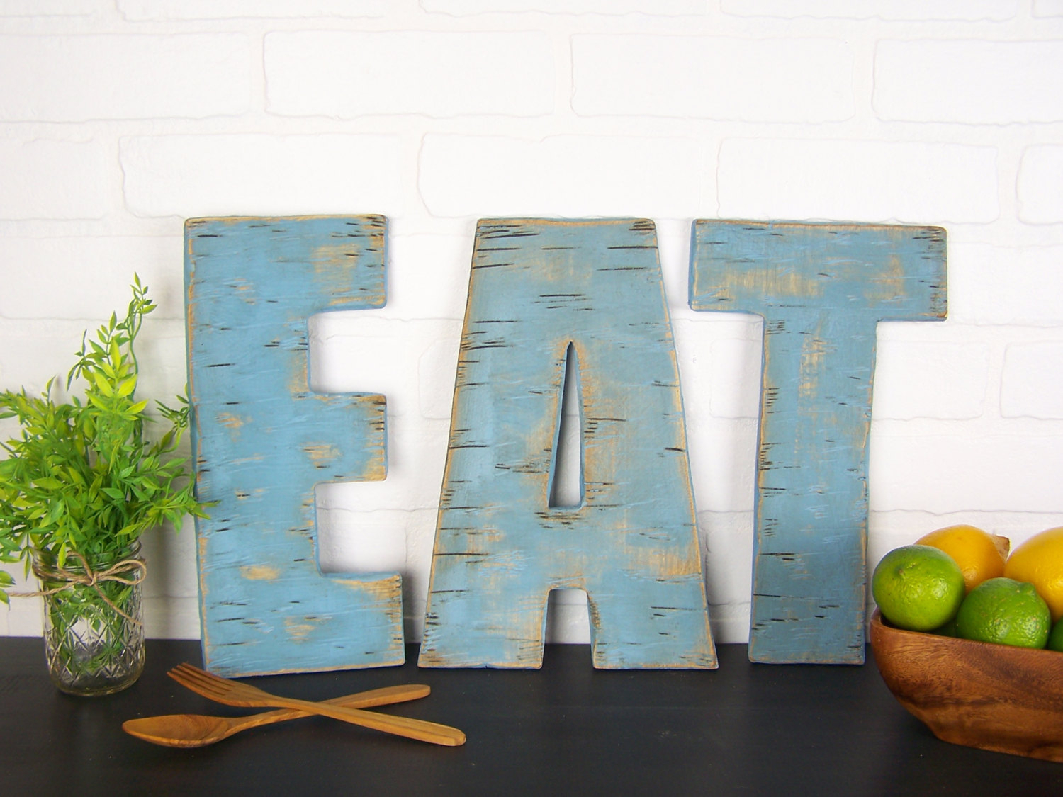 Rustic Eat Sign Wooden Letters Kitchen Farmhouse Signs Regarding Eat Rustic Farmhouse Wood Wall Decor (Photo 11 of 30)