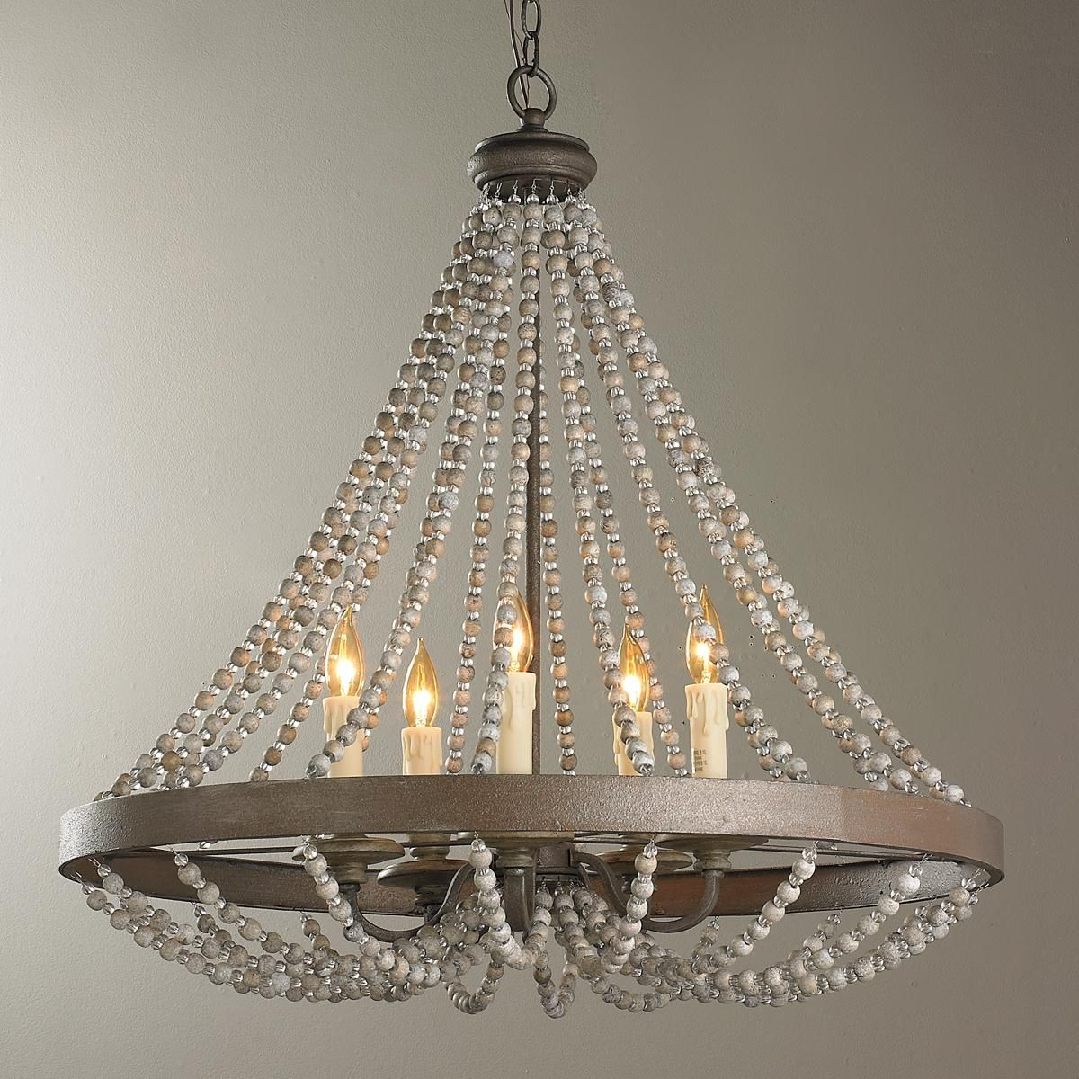 Rustic French Country Beaded Chandelier | Rustic Designs In Regarding Ladonna 5 Light Novelty Chandeliers (Gallery 17 of 30)