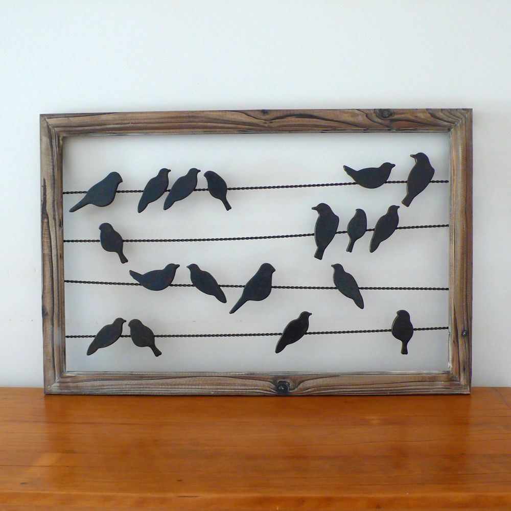 Rustic French Country Metal & Wood Birds On Wire Wall With Regard To Birds On A Wire Wall Decor (Gallery 4 of 30)