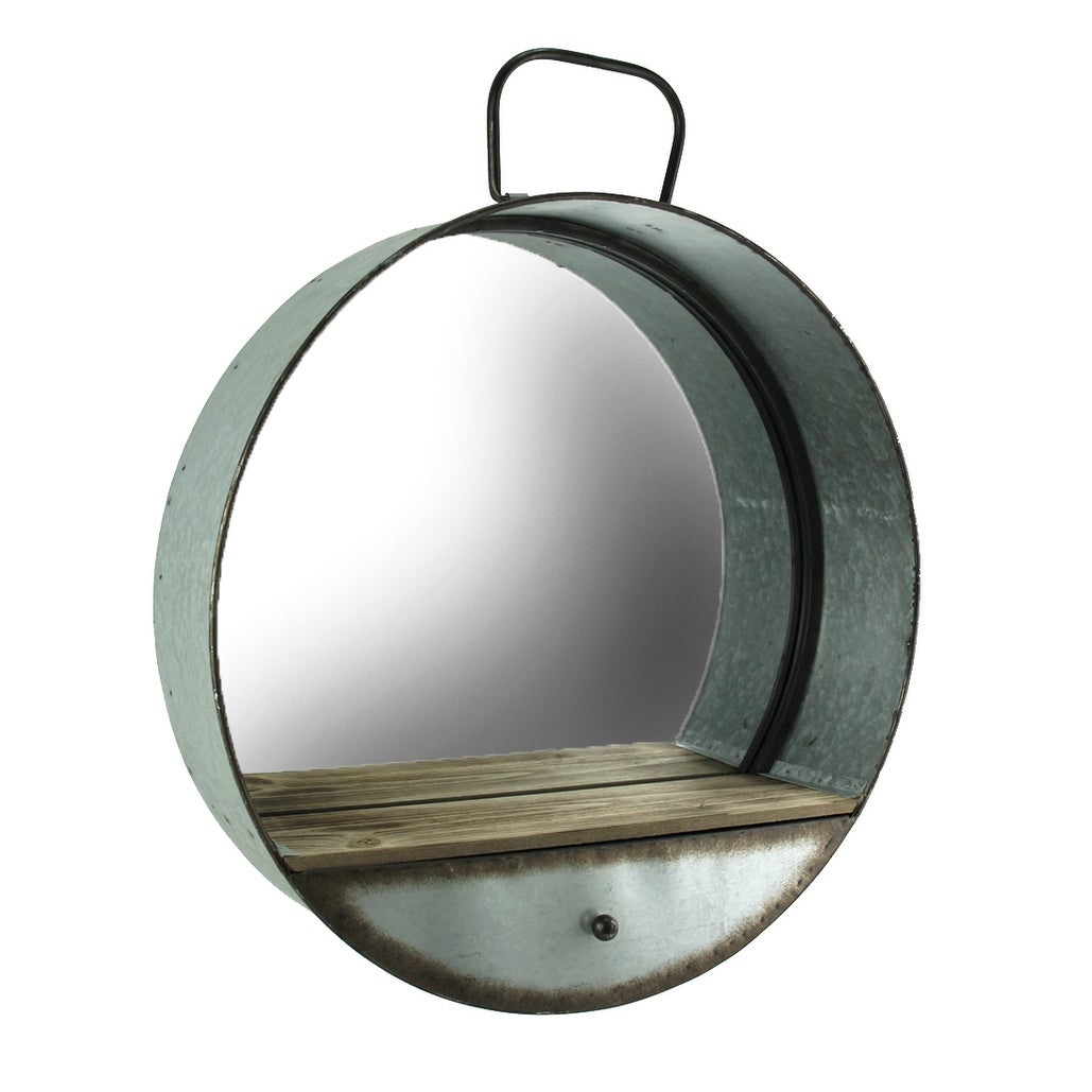 Rustic Galvanized Metal Tub Frame Round Wall Mirror With Drawer – Gray – 20.5 X (View 1 of 30)