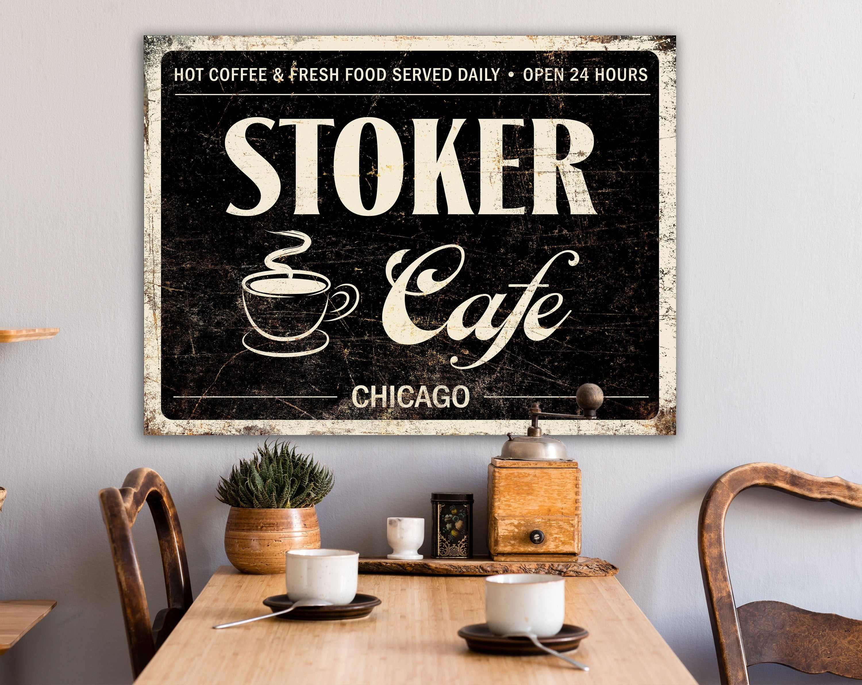 Rustic Kitchen Wall Decor, Retro Coffee Sign, Personalized Vintage Cafe  Faux Metal Canvas Art, Coffee Cup Wall Decor, Restaurant Style Sign Pertaining To Personalized Distressed Vintage Look Kitchen Metal Sign Wall Decor (Gallery 6 of 30)
