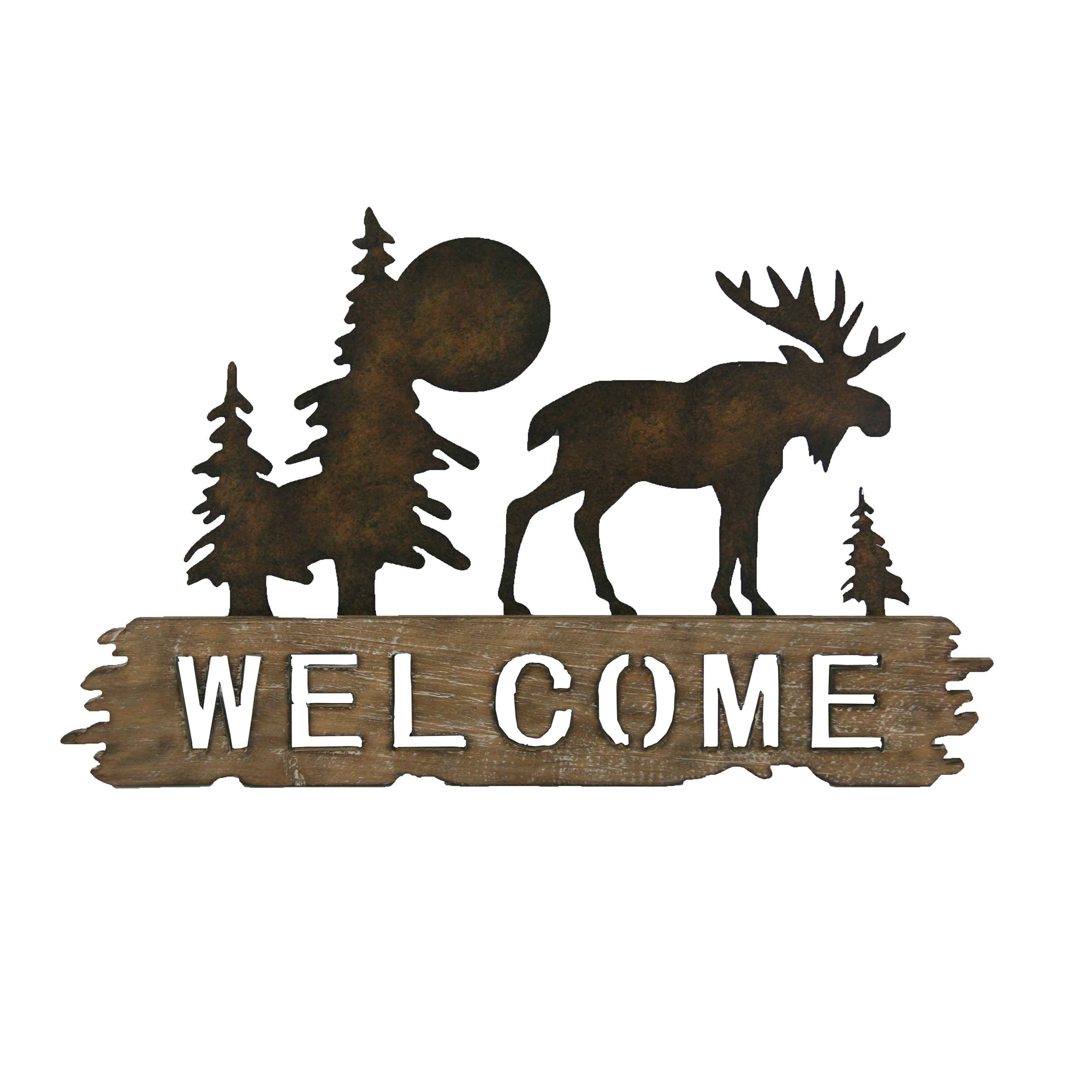 Rustic Moose  Welcome Cut Out Wood And Metal Wall Decor | Boxman In Tree Welcome Sign Wall Decor (Gallery 30 of 30)