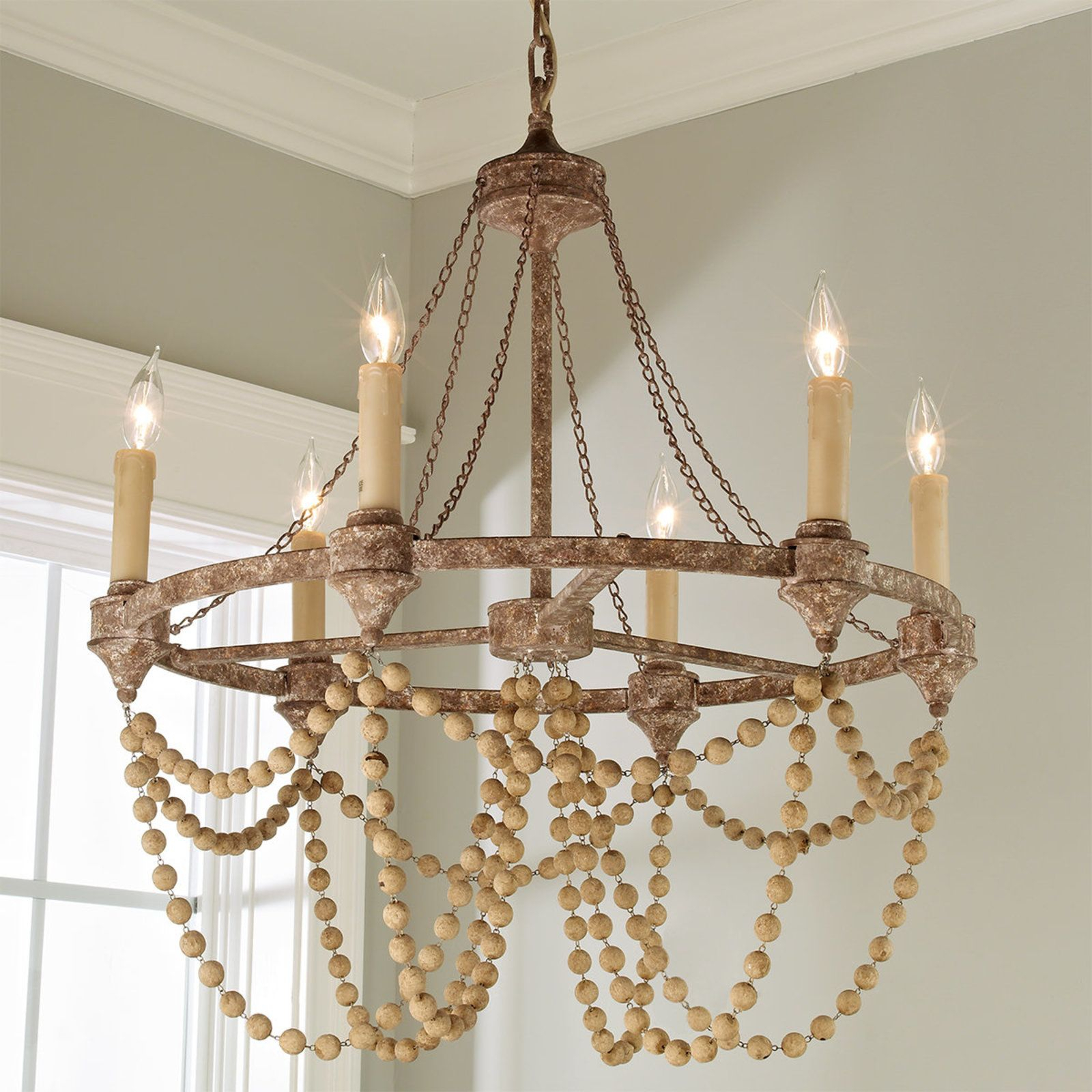 Rustic Refined Wood Bead Chandelier   Chandeliers   Wood Pertaining To Duron 5 Light Empire Chandeliers (View 20 of 30)
