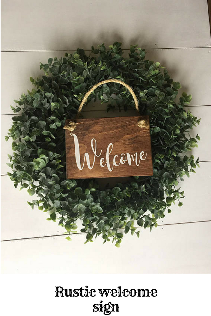 Rustic Welcome Sign Rustic Front Door Sign Welcome Decor Regarding Tree Welcome Sign Wall Decor (View 9 of 30)