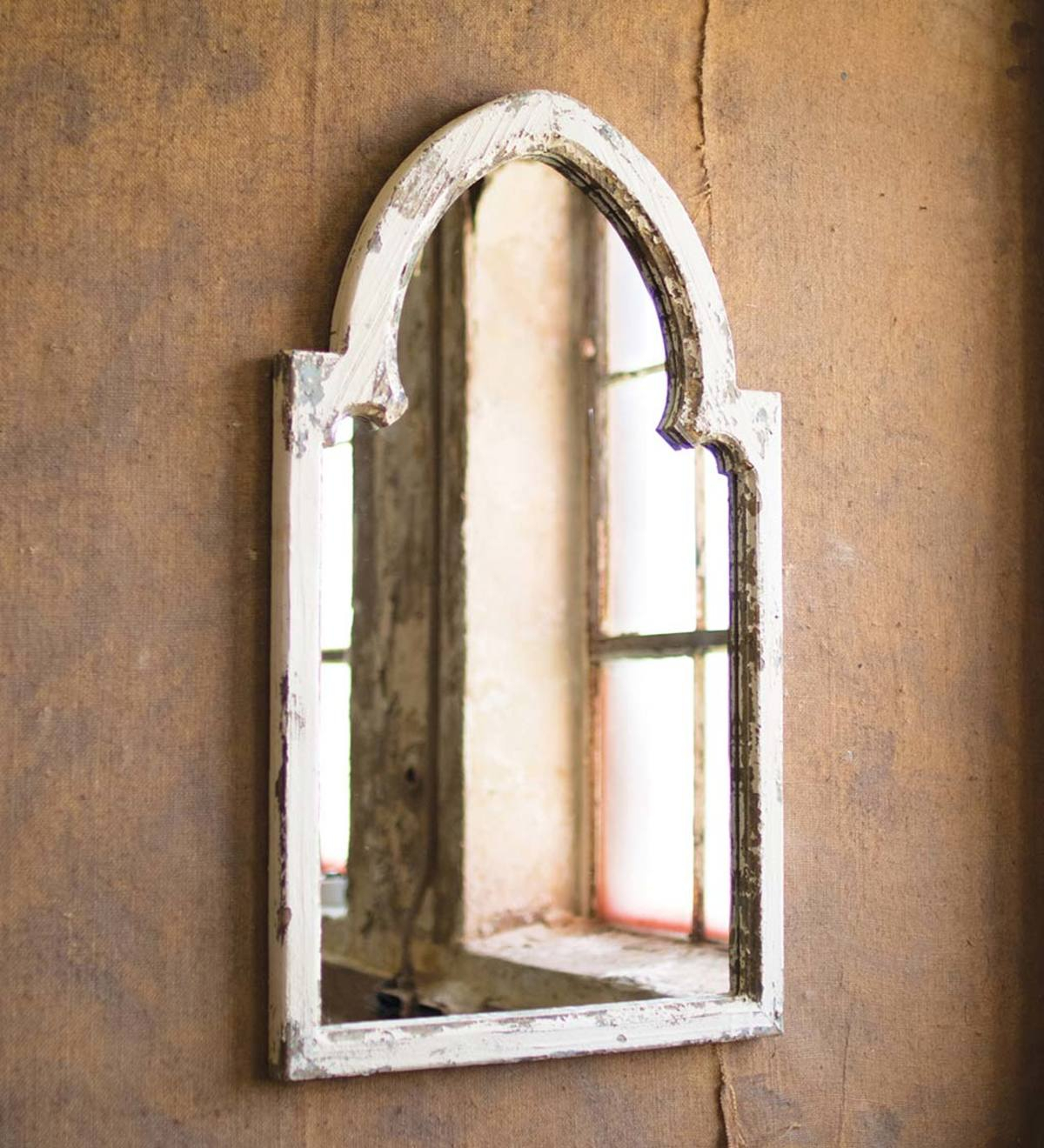 Rustic White Wood Arched Framed Mirror With Gold Accent Pertaining To Wood Accent Mirrors (View 15 of 30)