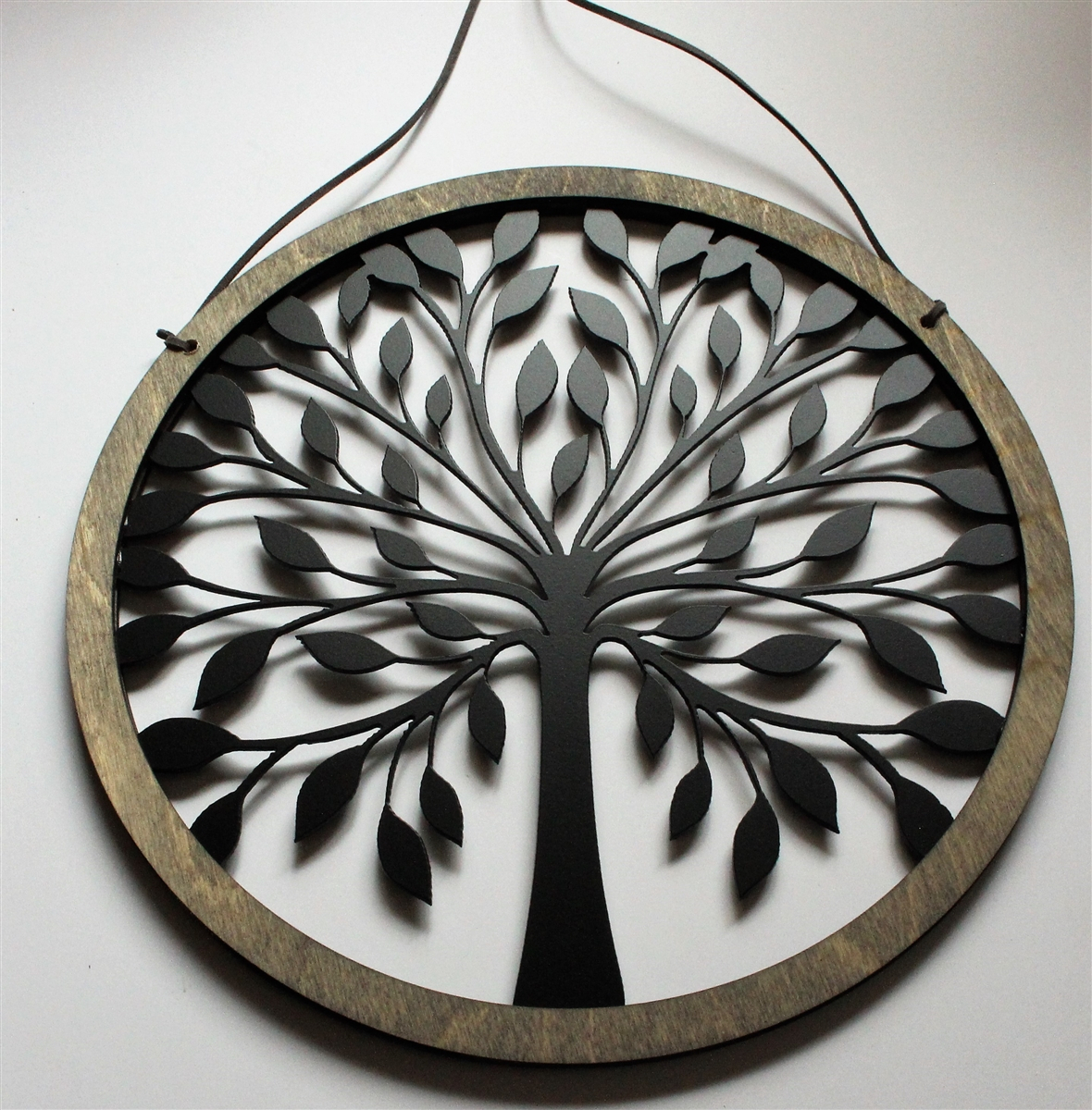 """Rustic Wood And Tree Of Life Wall Hanging Circle 10 3/4"""" Black Powder Coated Throughout Tree Of Life Wall Decor (Photo 29 of 30)"""