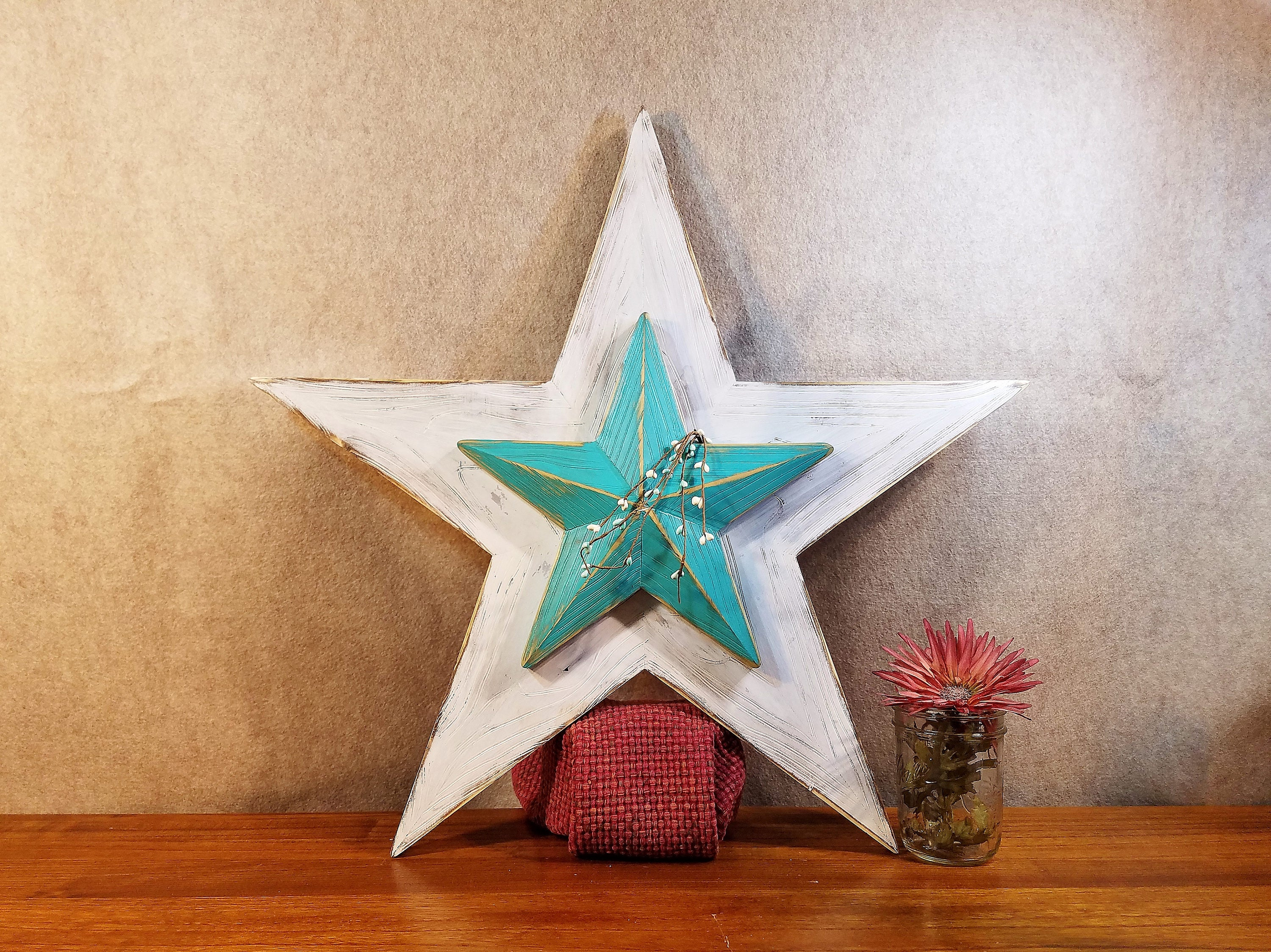 Rustic Wood Star, Barn Star, Set Of 2, Farmhouse Style, Home Decor, Wall Hanging, Painted Wooden Star, 10 Separate Cuts, White And Teal With Raised Star Wall Decor (View 7 of 30)