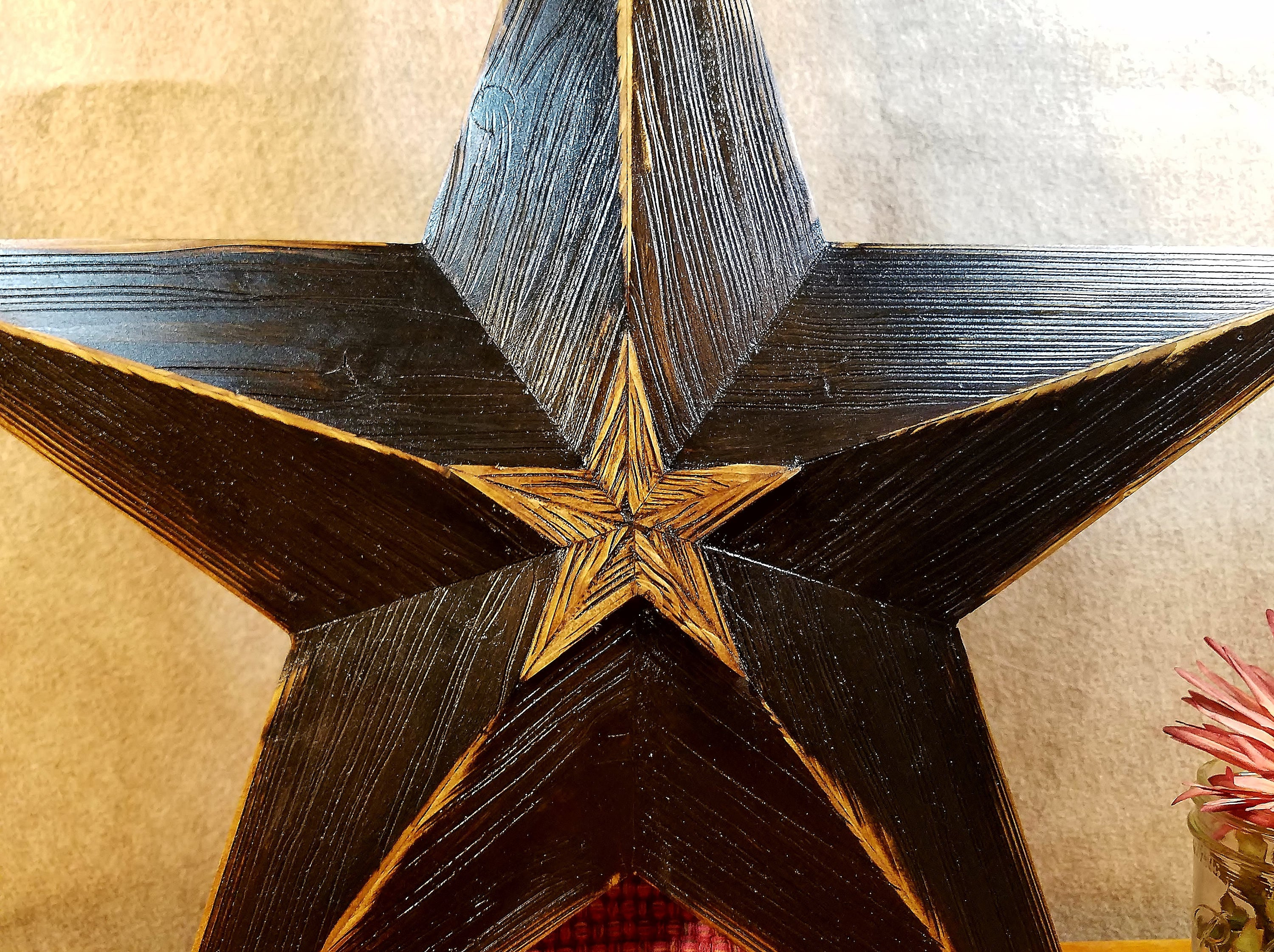 Rustic Wood Star, Large Barn Star, Black Rustic Star, Raised Center Star, Rustic Home Decor, Wood Wall Star Distressed Regarding Raised Star Wall Decor (View 4 of 30)