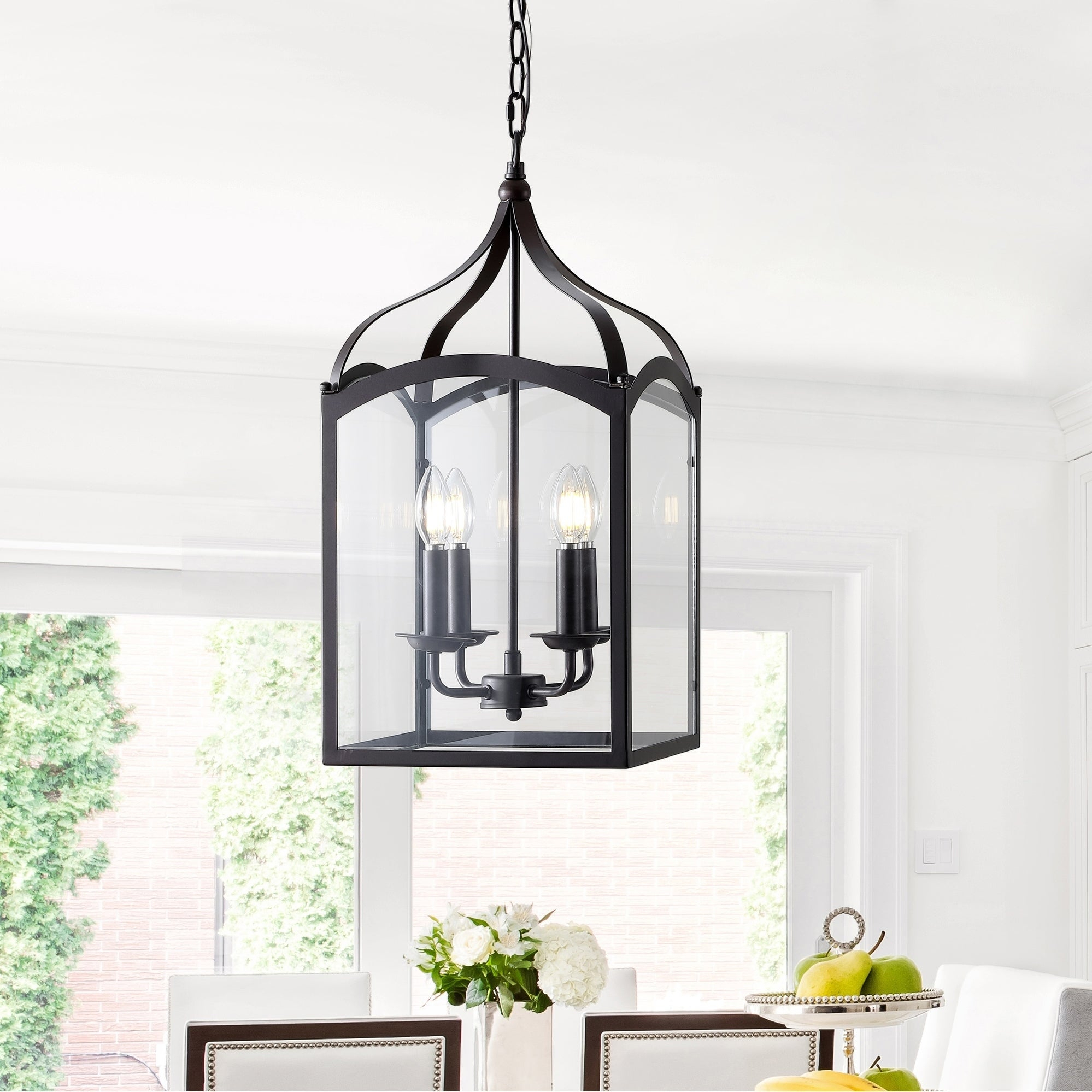 "Ruth 11"" 4 Light Lantern Metal/glass Led Pendant, Oil Rubbed Bronze Jonathan Y In Odie 4 Light Lantern Square Pendants (View 23 of 30)"
