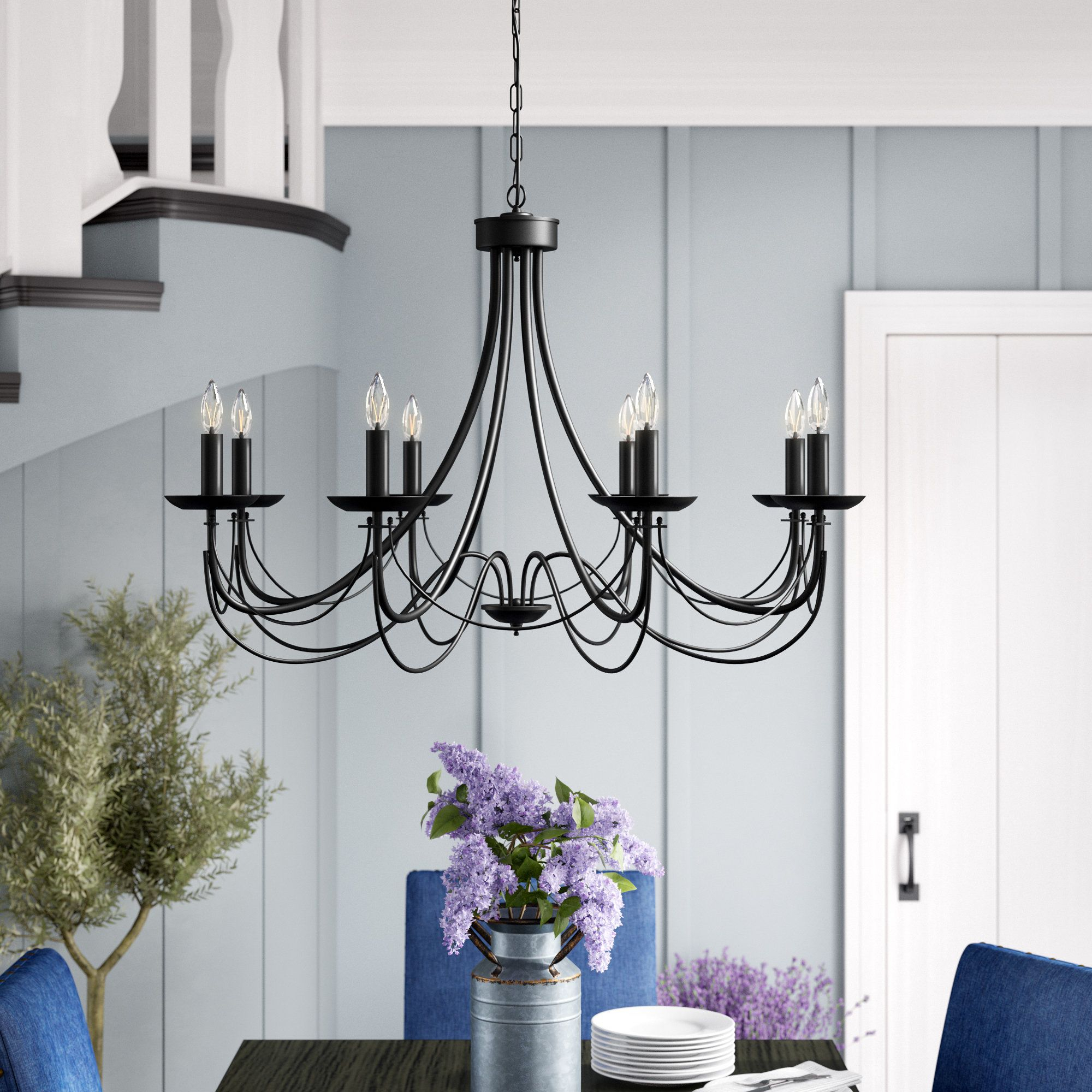 Ryckman Iron 8 Light Candle Style Chandelier | Light Inside Giverny 9 Light Candle Style Chandeliers (View 16 of 30)