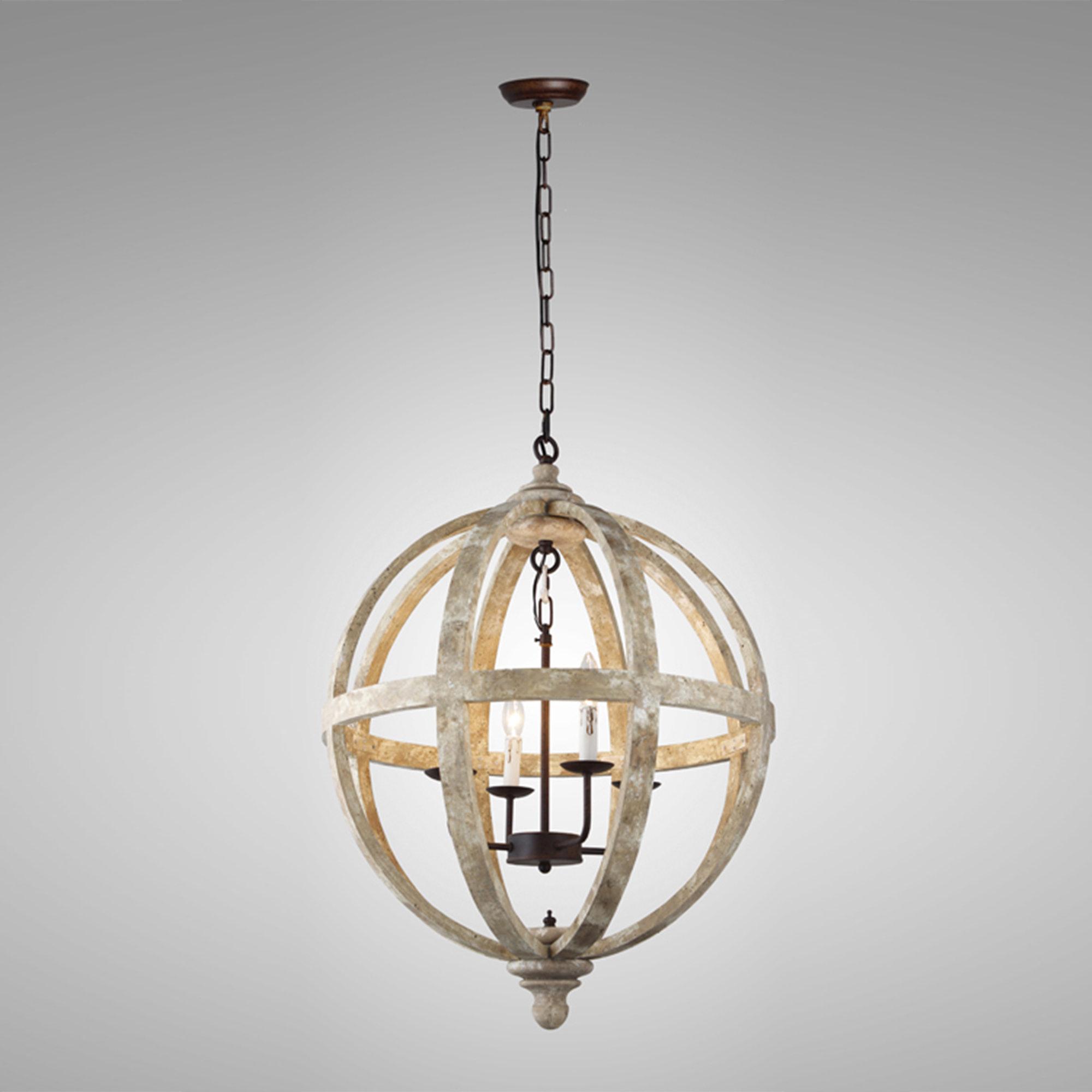 Ryne 4 Light Globe Chandelier Intended For Cavanagh 4 Light Geometric Chandeliers (View 15 of 30)
