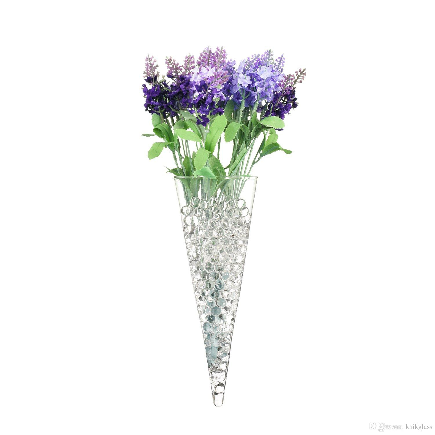 S/3 Cone Shape Glass Wall Vase For Water Plants Holders Wall Mounts Flower Receptacle Decorate Indoor Wall Of Your House Within Three Glass Holder Wall Decor (View 13 of 30)