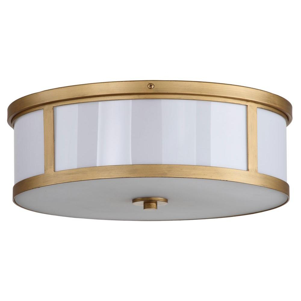 Safavieh Avery Ceiling Drum 2 Light Antique Gold Flush Mount Regarding Breithaup 7 Light Drum Chandeliers (View 21 of 30)