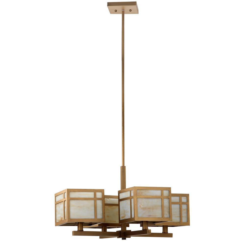 Safavieh Craftsman 4-Light Antique Gold Chandelier regarding Suki 5-Light Shaded Chandeliers (Image 16 of 30)