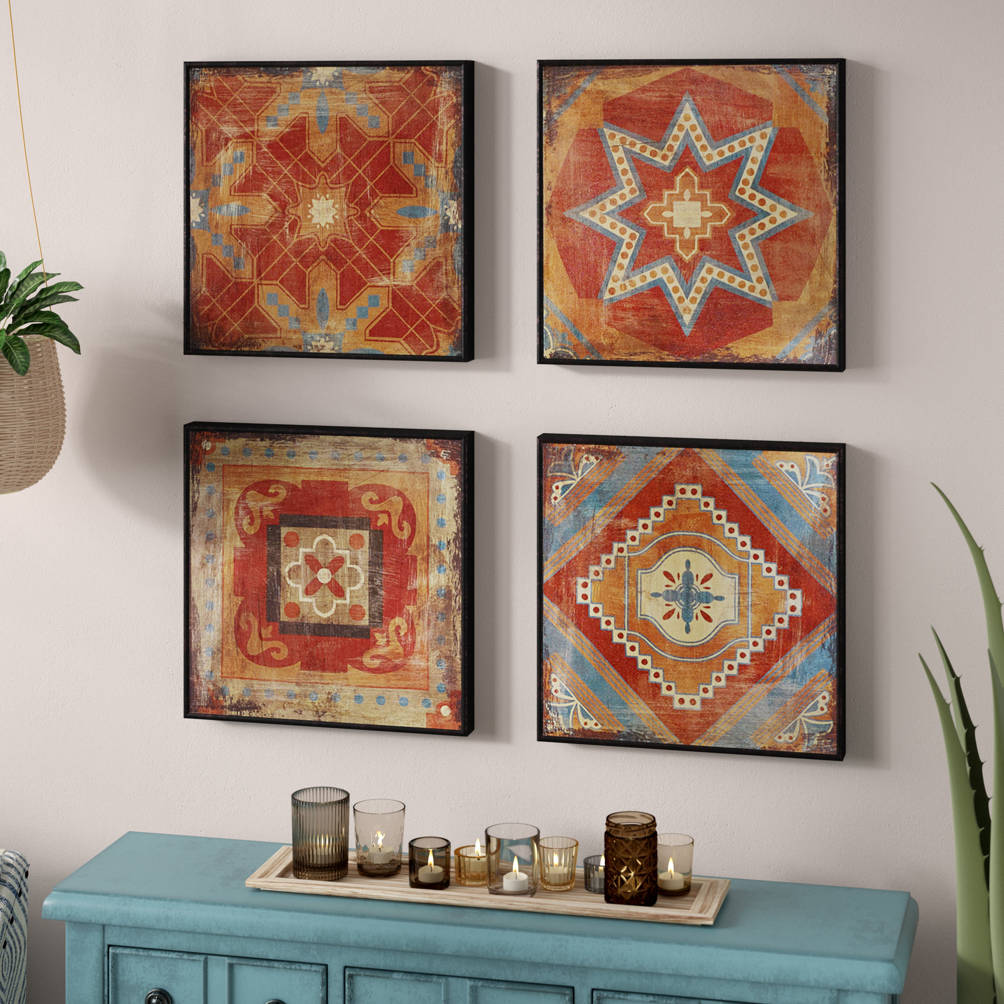 Saffron Gel Coated Decor Box 4 Piece Wall Décor Set Within 4 Piece Wall Decor Sets (View 3 of 30)