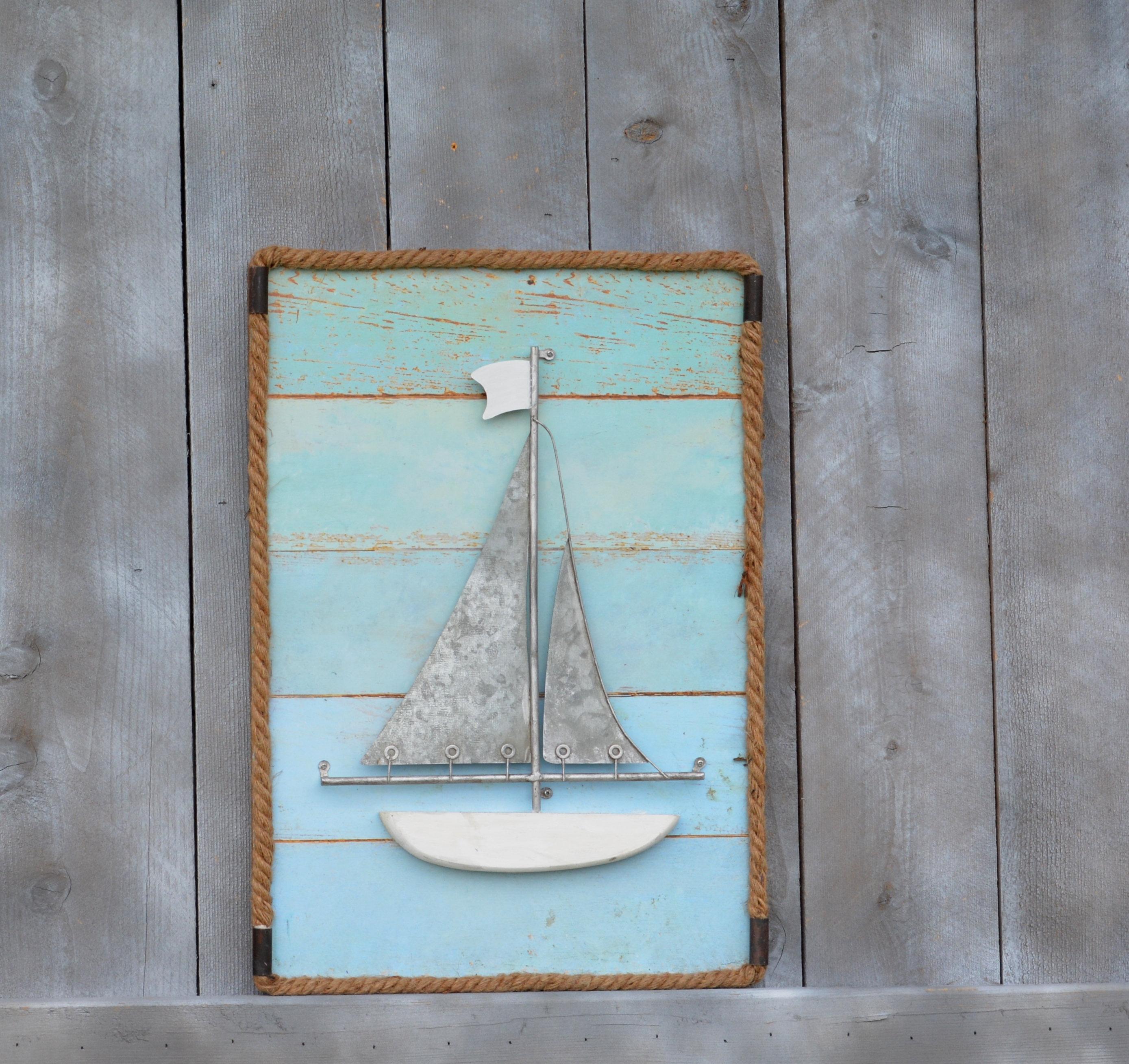 Sailboat Wood, Metal And Rope Wall Decor. Nautical Decor. Sailboat Art. Maritime Decor. Sailboat Wall Hanging. Sailboat. Coastal Decor (View 14 of 30)