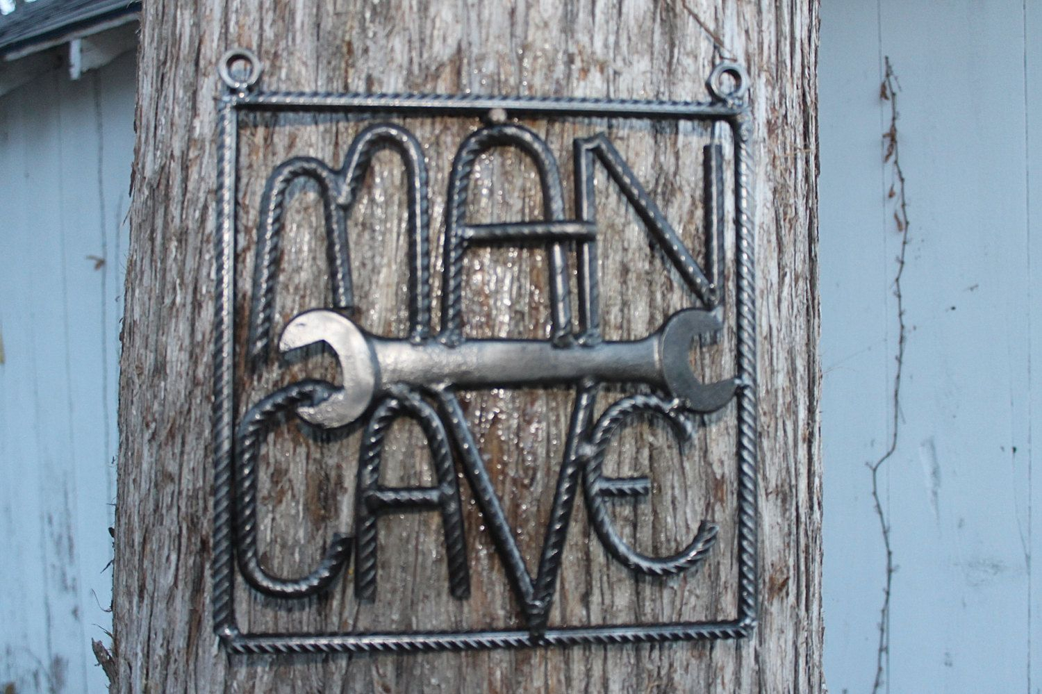 Salvaged Rebar Man Cave Sign, Rebar Art, Gift For Him pertaining to Coffee Sign With Rebar Wall Decor (Image 27 of 30)