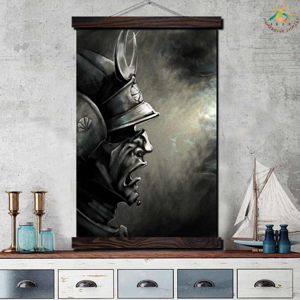 Samurai Demon Mask Framed Scroll Painting Modern Canvas Art Prints Poster Wall Painting Artwork Wall Art Pictures Home Decor Throughout Scroll Framed Wall Decor (View 20 of 30)