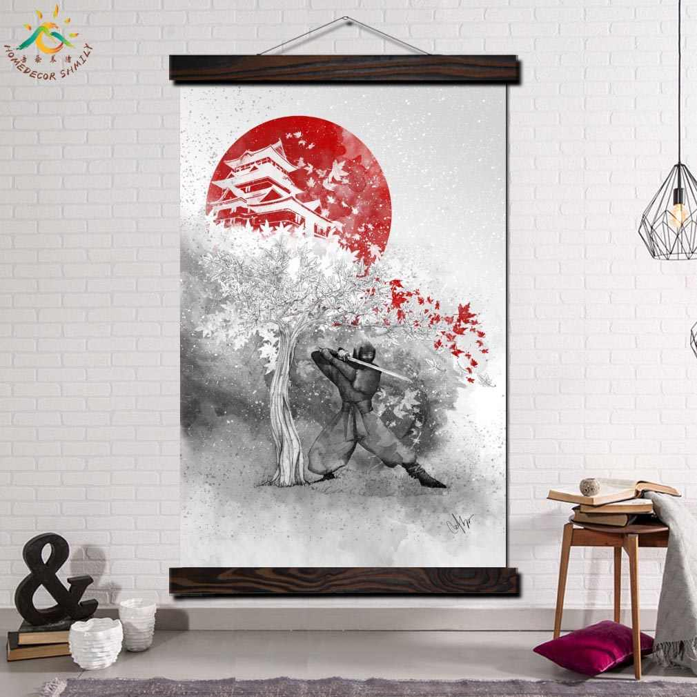 Samurai Japan Single Framed Scroll Painting Modern Canvas with Scroll Framed Wall Decor (Image 21 of 30)