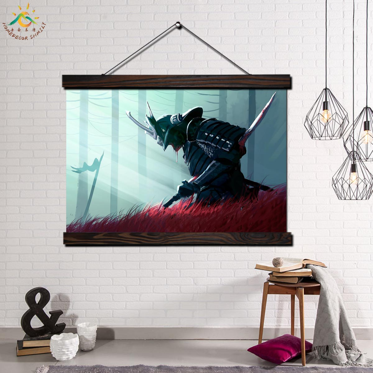 Samurai Warrior Wall Art Canvas Prints Painting Frame Scroll Painting  Hanging Poster Decorative Picture Art Print Wall Poster with regard to Scroll Framed Wall Decor (Image 22 of 30)