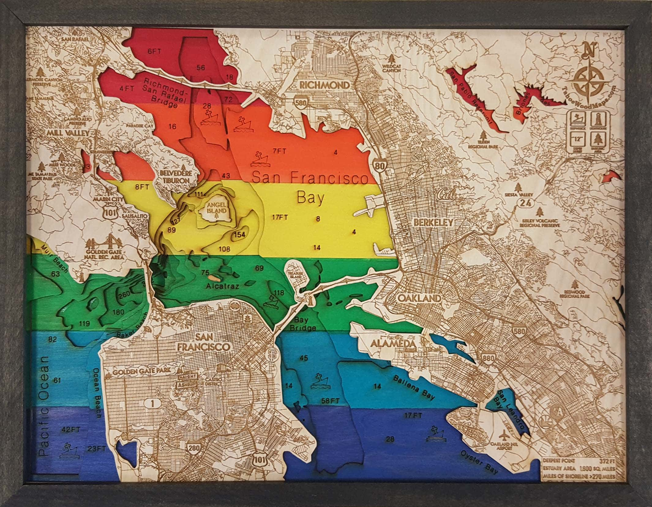 San Francisco Bay Pride 3D Wood Map within American Pride 3D Wall Decor (Image 21 of 30)