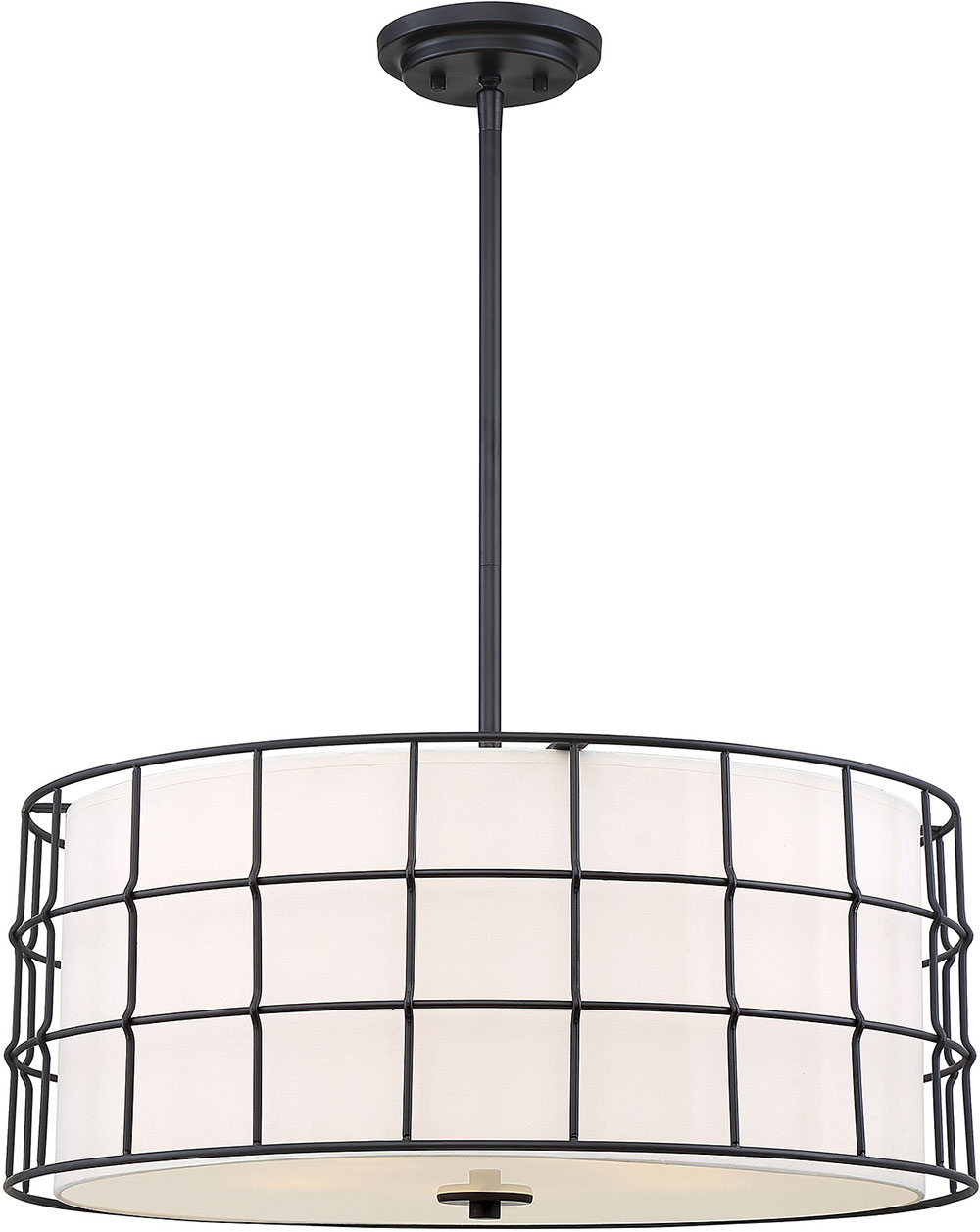 Savoy House 7 8501 5 89 Hayden Contemporary Black Drum Pendant Lighting Fixture Pertaining To Hayden 5 Light Shaded Chandeliers (View 11 of 30)