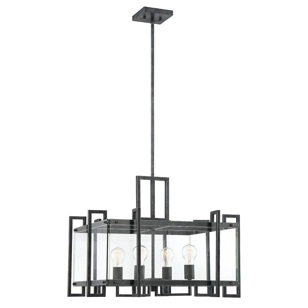 Savoy House Bennington Black Steel Pendant With Clear Glass At Destination Lighting Throughout Bennington 6 Light Candle Style Chandeliers (View 14 of 30)