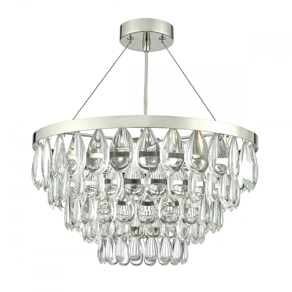 Sceptre Polished Chrome And Clear Droplet 3 Light Pendant In Clea 3 Light Crystal Chandeliers (View 6 of 30)