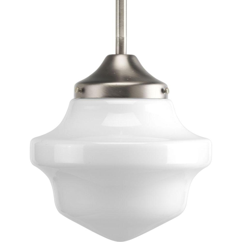 Schoolhouse Collection 1 Light Brushed Nickel Mini Pendant With White Opal Glass In Nadine 1 Light Single Schoolhouse Pendants (View 17 of 30)