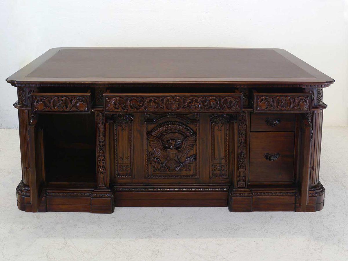 Schreibtisch Büromöbel Schreibmöbel Antik Stil Teilmassiv Braunes Leder (5257) In Rutherford Sideboards (View 23 of 30)