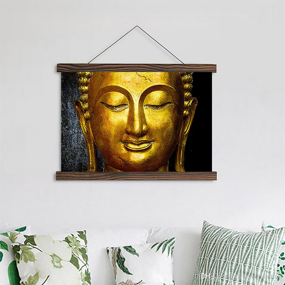 Scroll Canvas Paintings Gold Buddha Posters Hd Prints Wooden Frame Pictures Crafts Hanging Home Wall Art Decor For Living Room Within Scroll Framed Wall Decor (View 23 of 30)